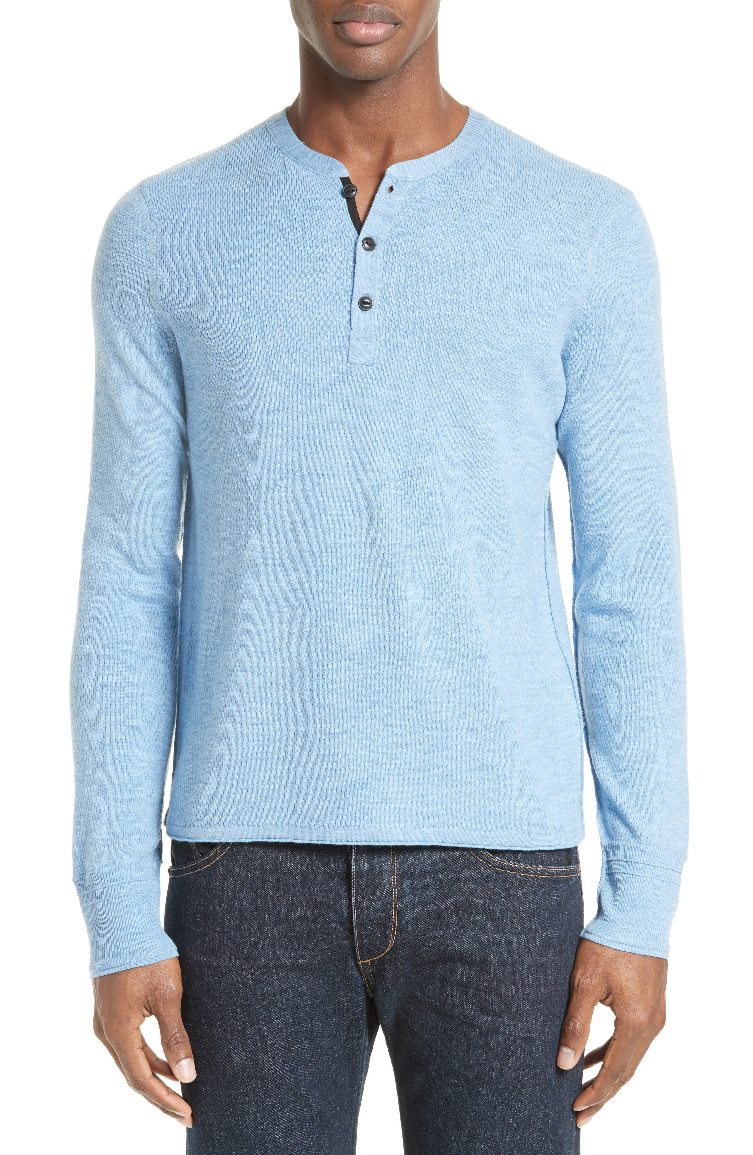 rag & bone Gregory Wool Blend Henley Sweater