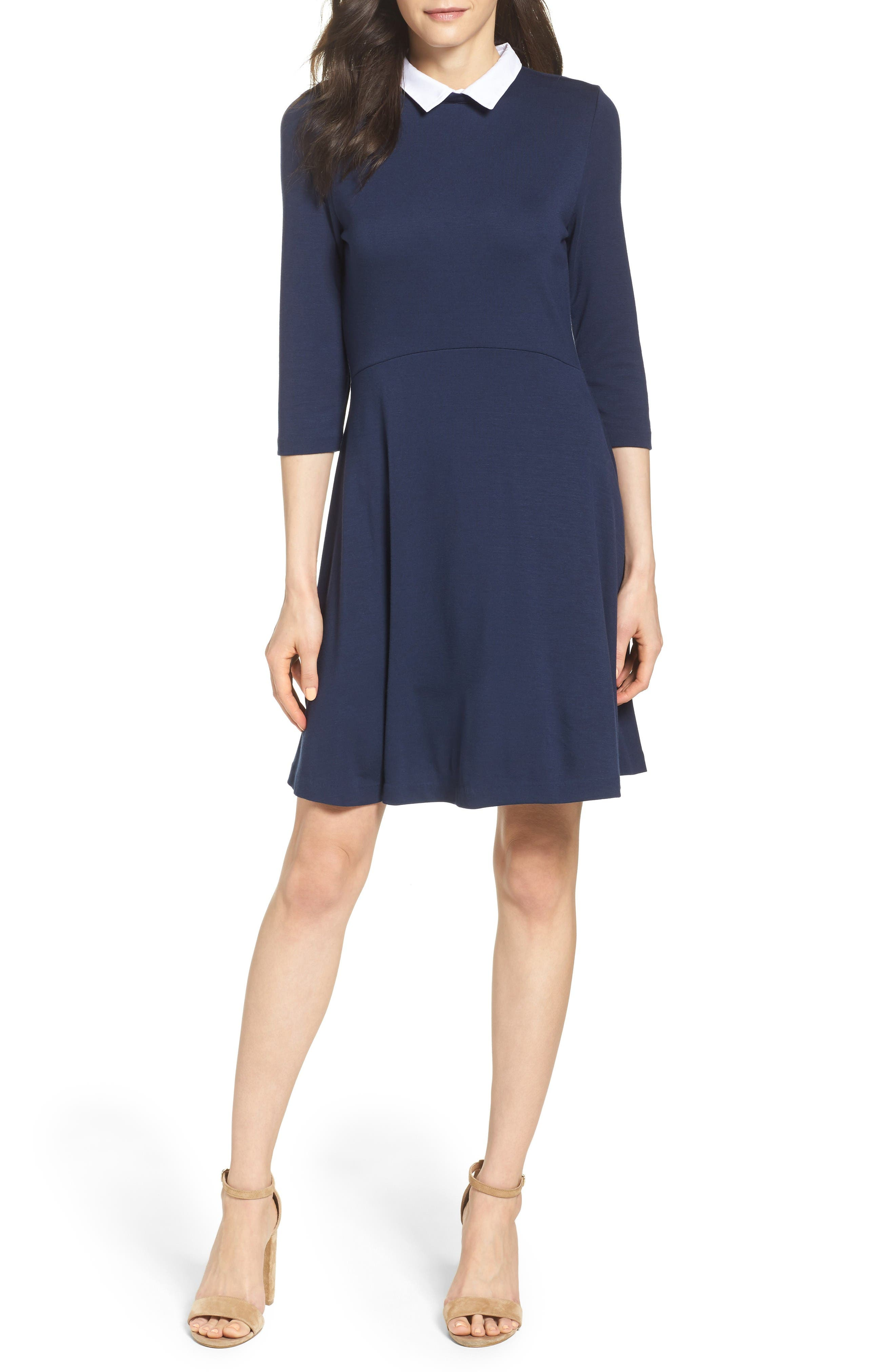 Alternate Image 4  - French Connection 'Fast Fresh' Collared Jersey Fit & Flare Dress
