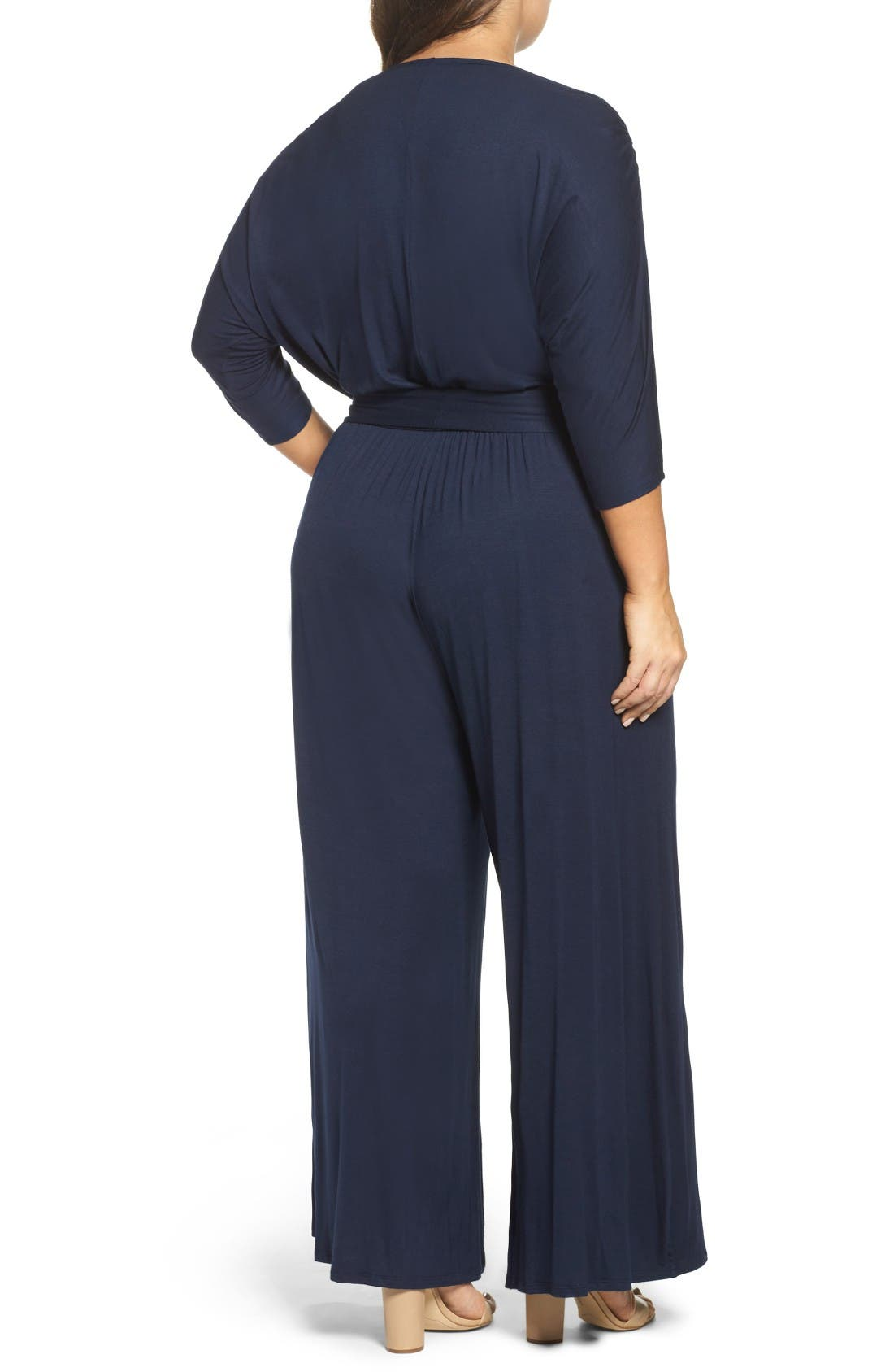 Alternate Image 2  - Loveappella Surplice Neckline Jersey Jumpsuit (Plus Size)