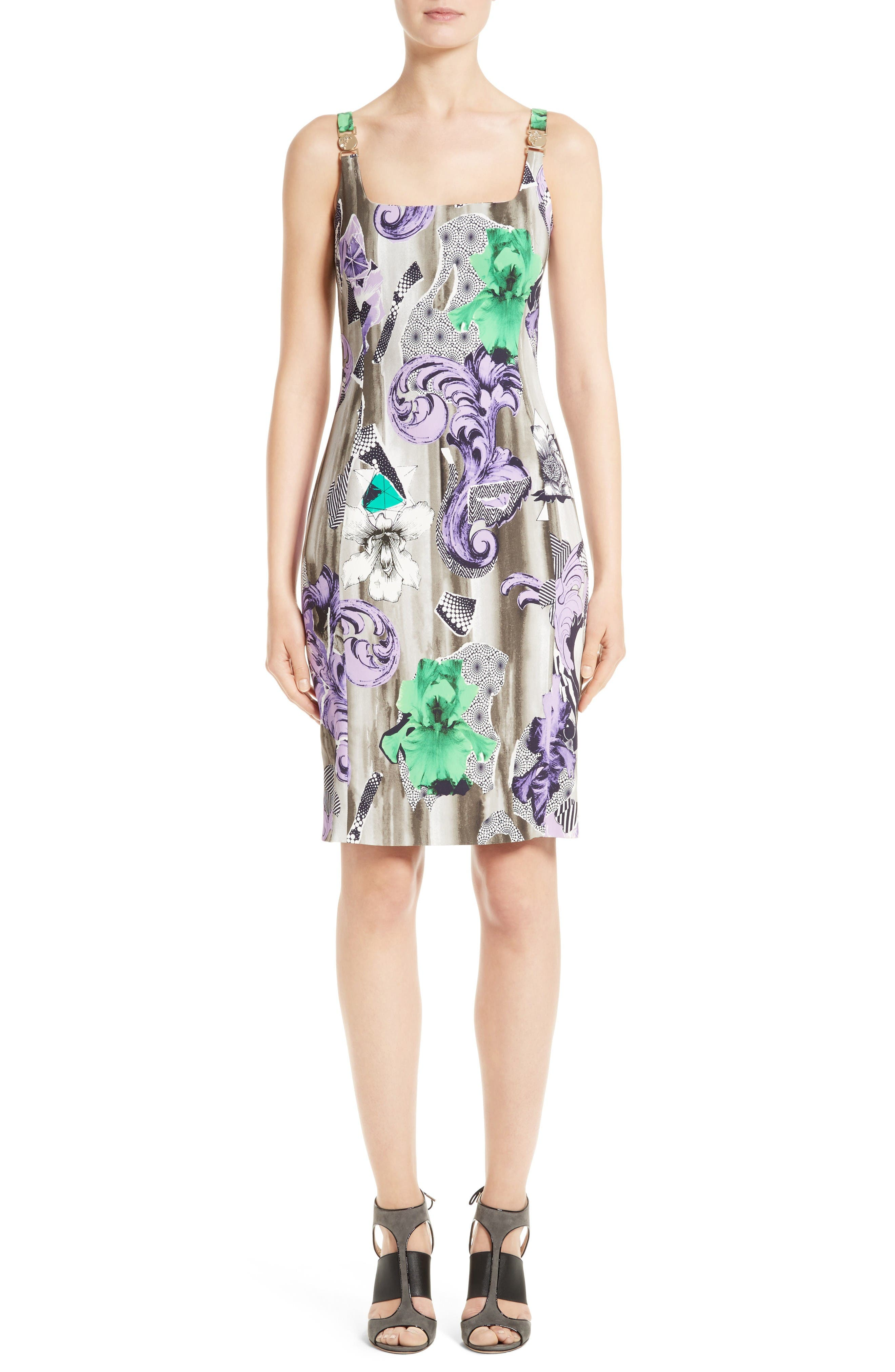 VERSACE Collection Print Scoop Neck Dress