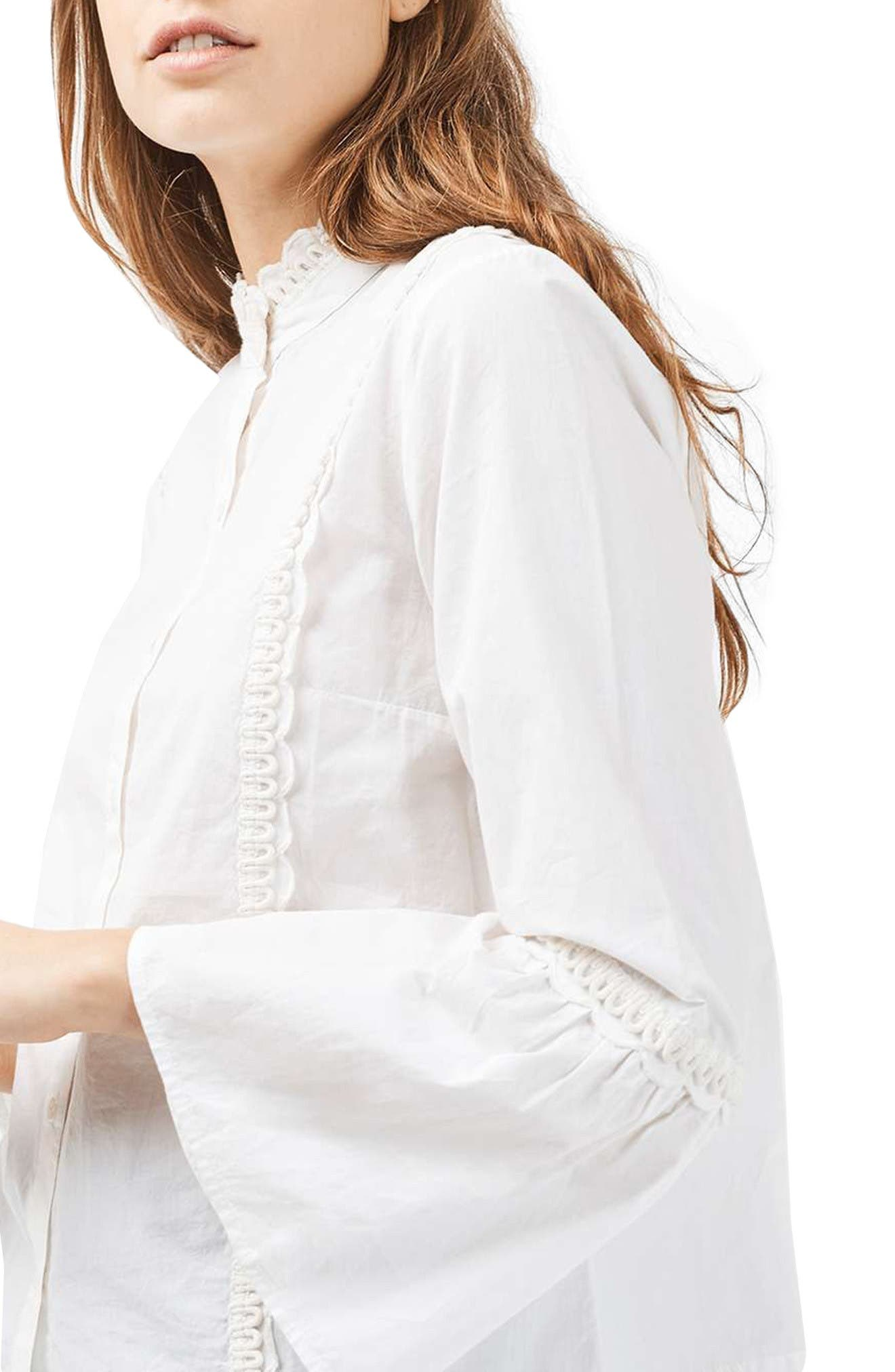 Alternate Image 5  - Topshop Cotton Poplin Ruffle Blouse