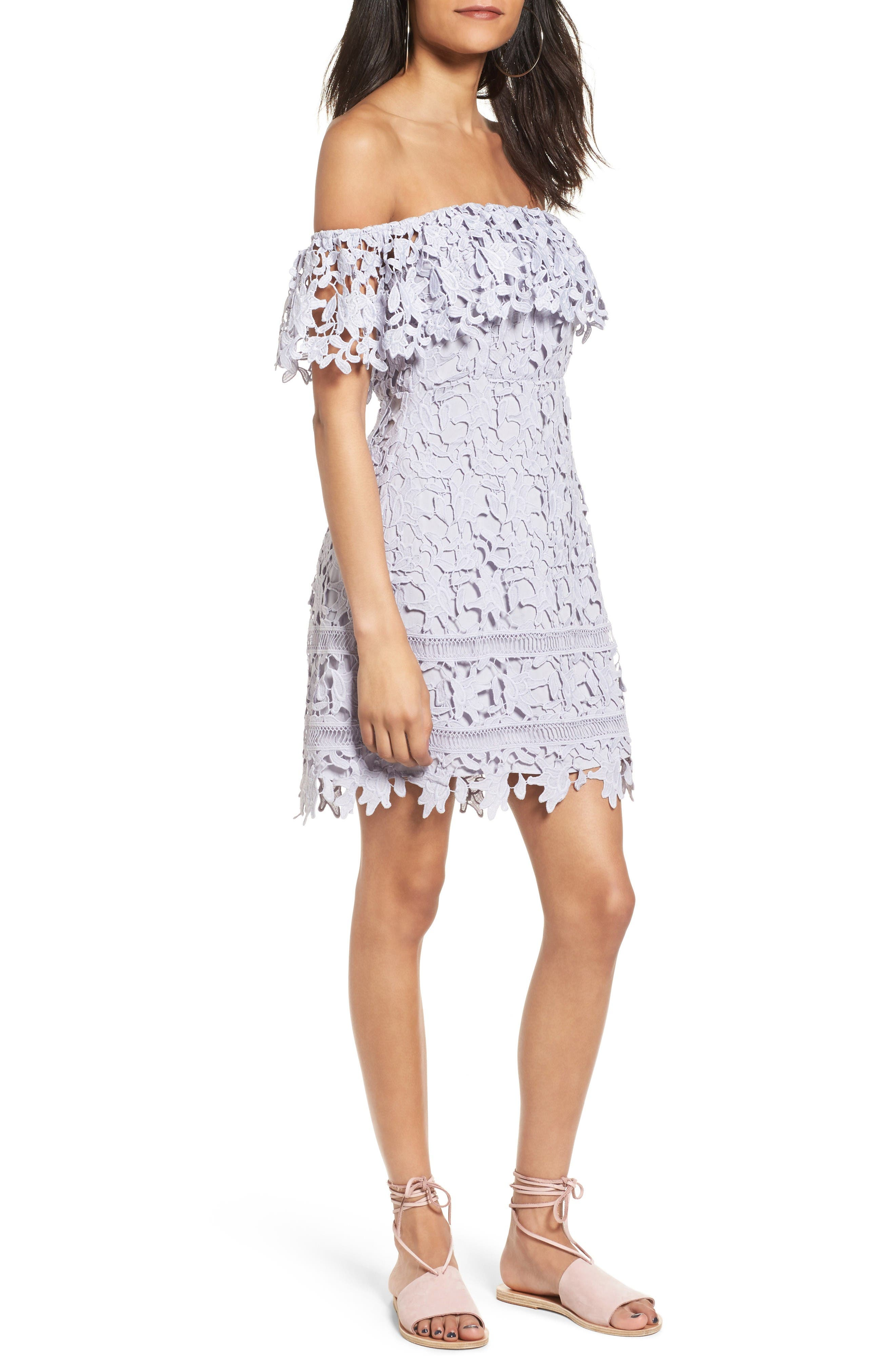 Main Image - ASTR the Label Off the Shoulder Lace Minidress