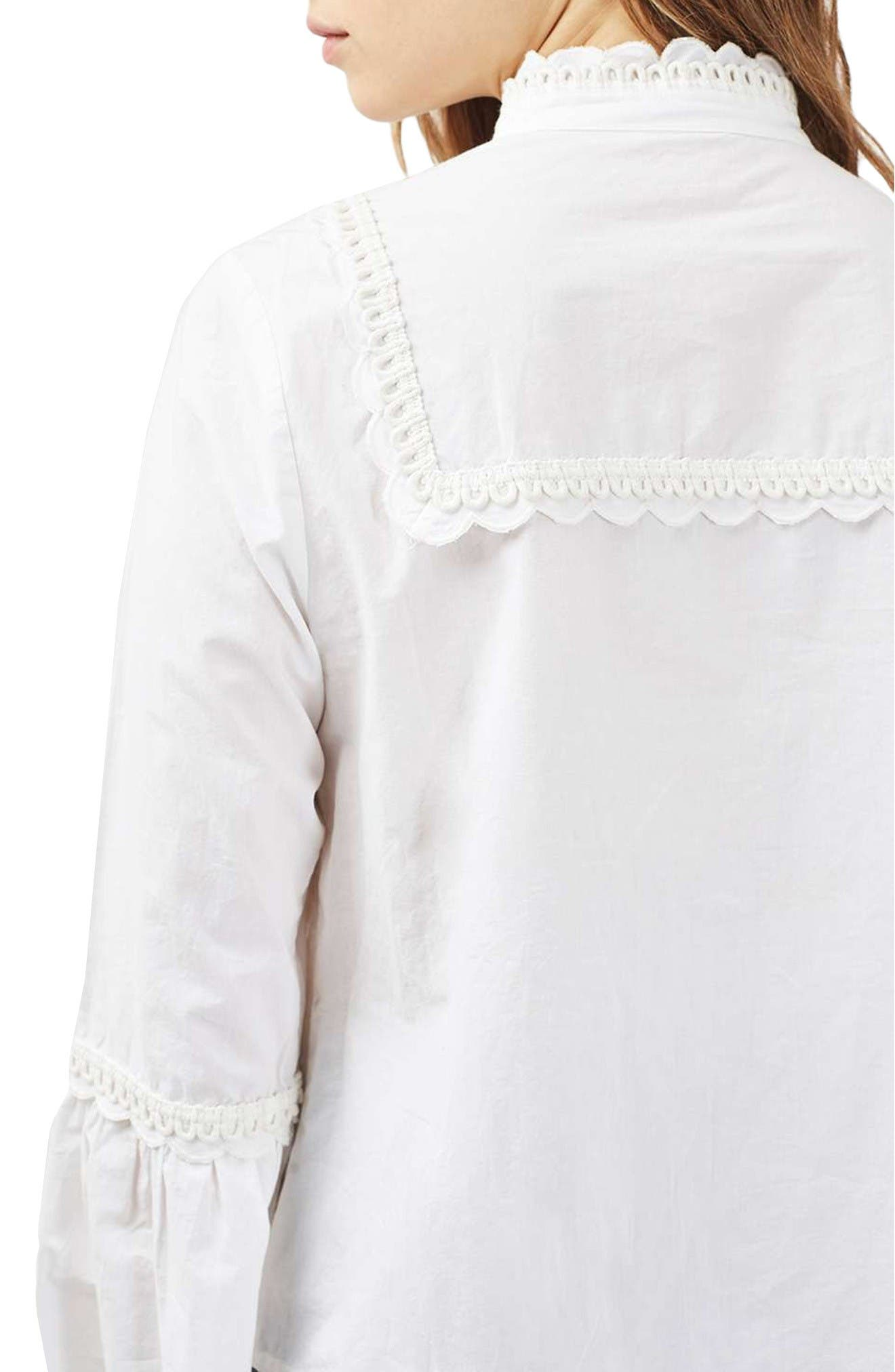 Alternate Image 3  - Topshop Cotton Poplin Ruffle Blouse