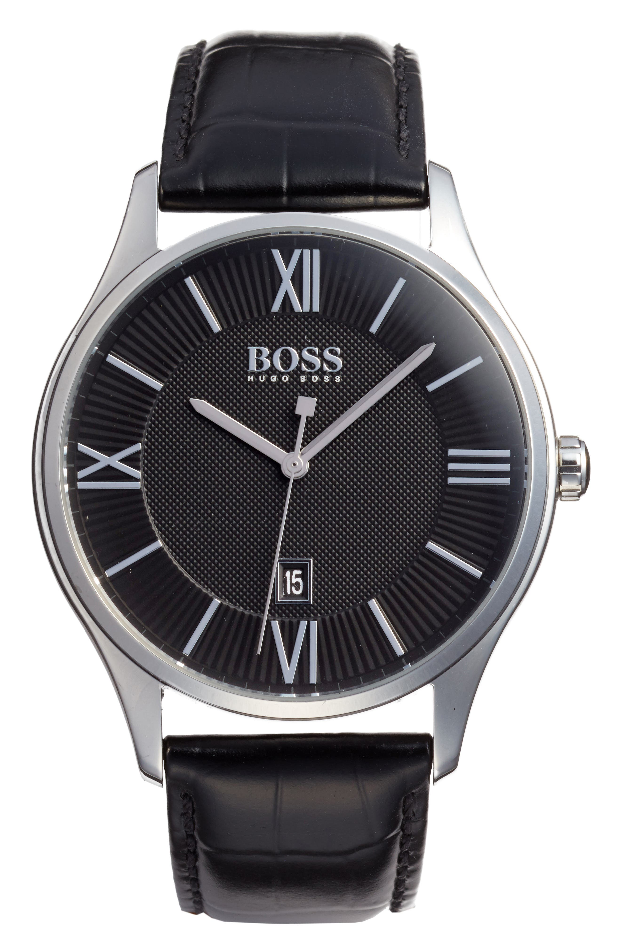 BOSS Governor Croc Embossed Leather Strap Watch, 44mm