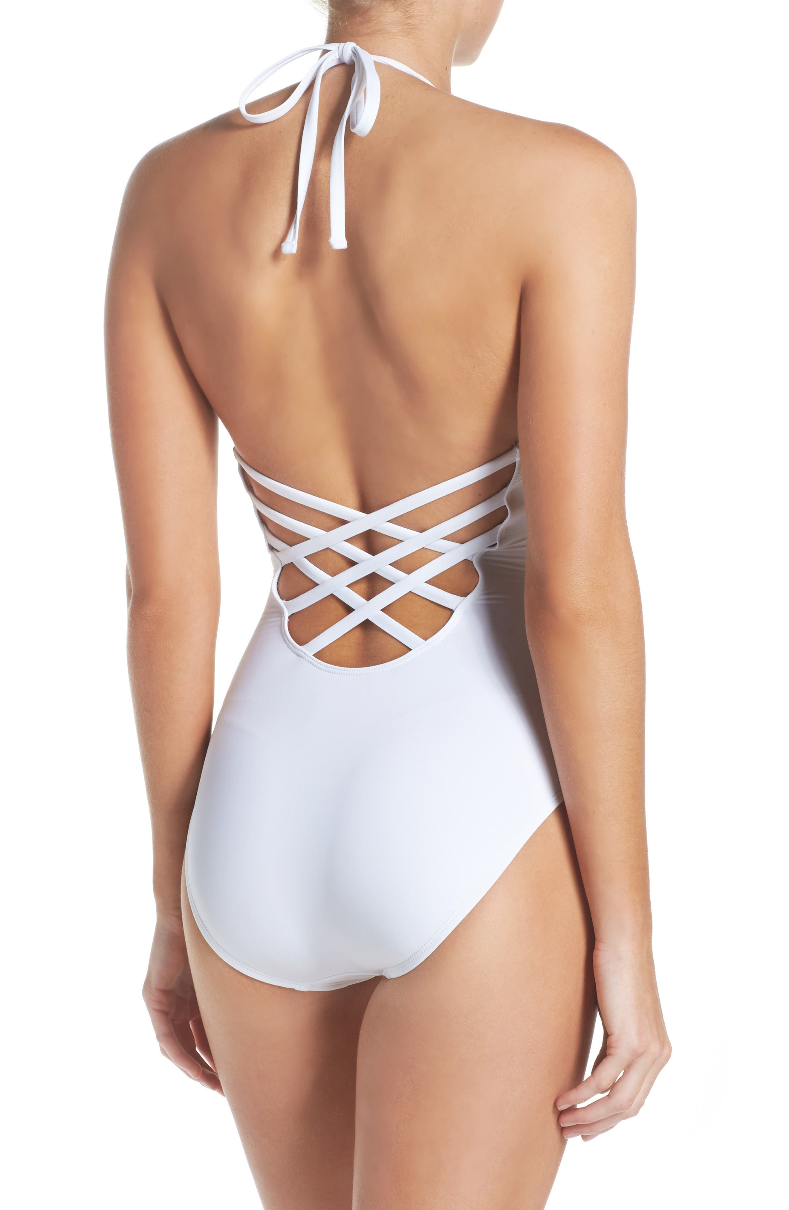 Alternate Image 2  - La Blanca Caged Strap One-Piece Swimsuit