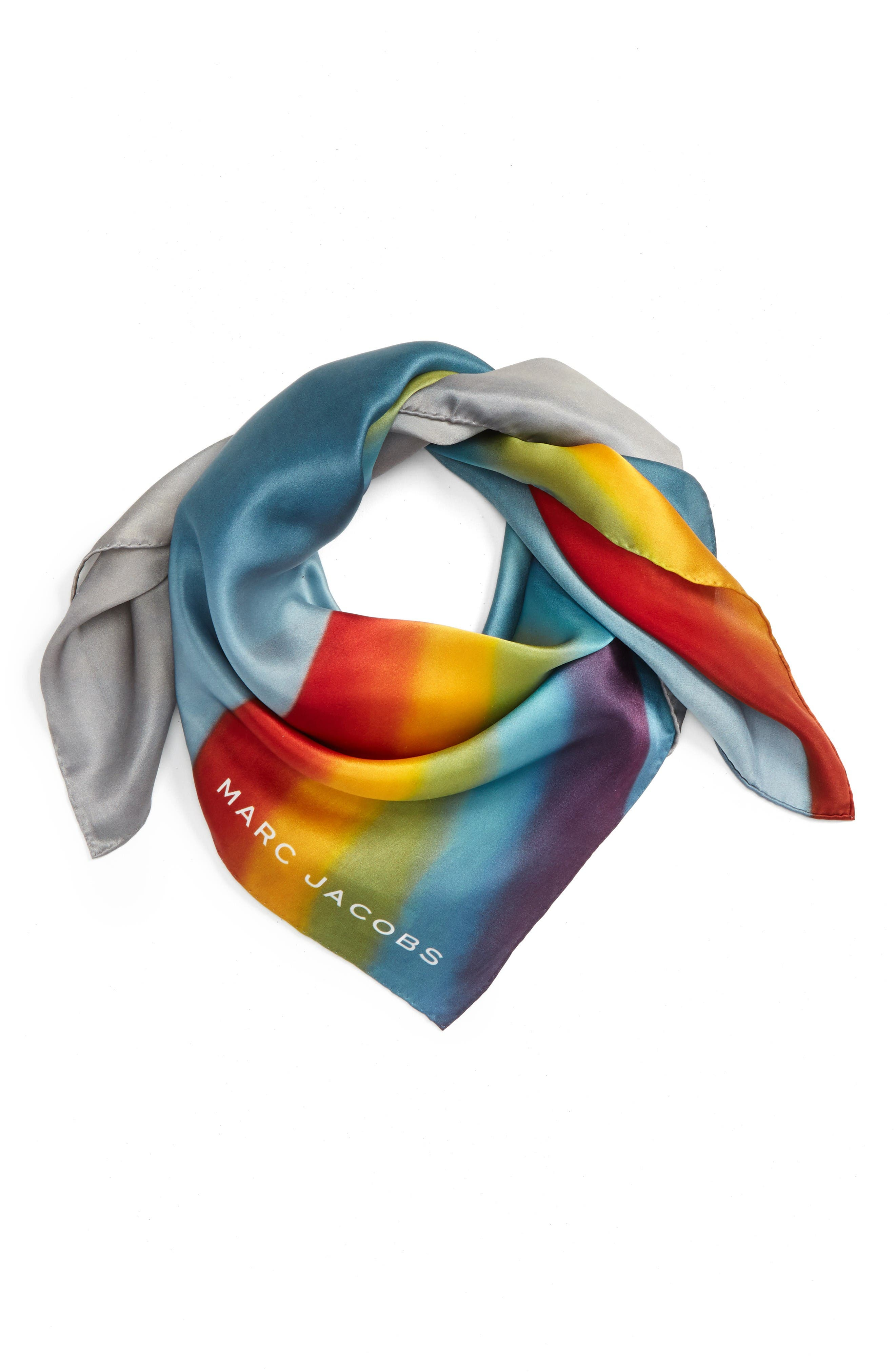 MARC JACOBS Rainbow Square Silk Scarf