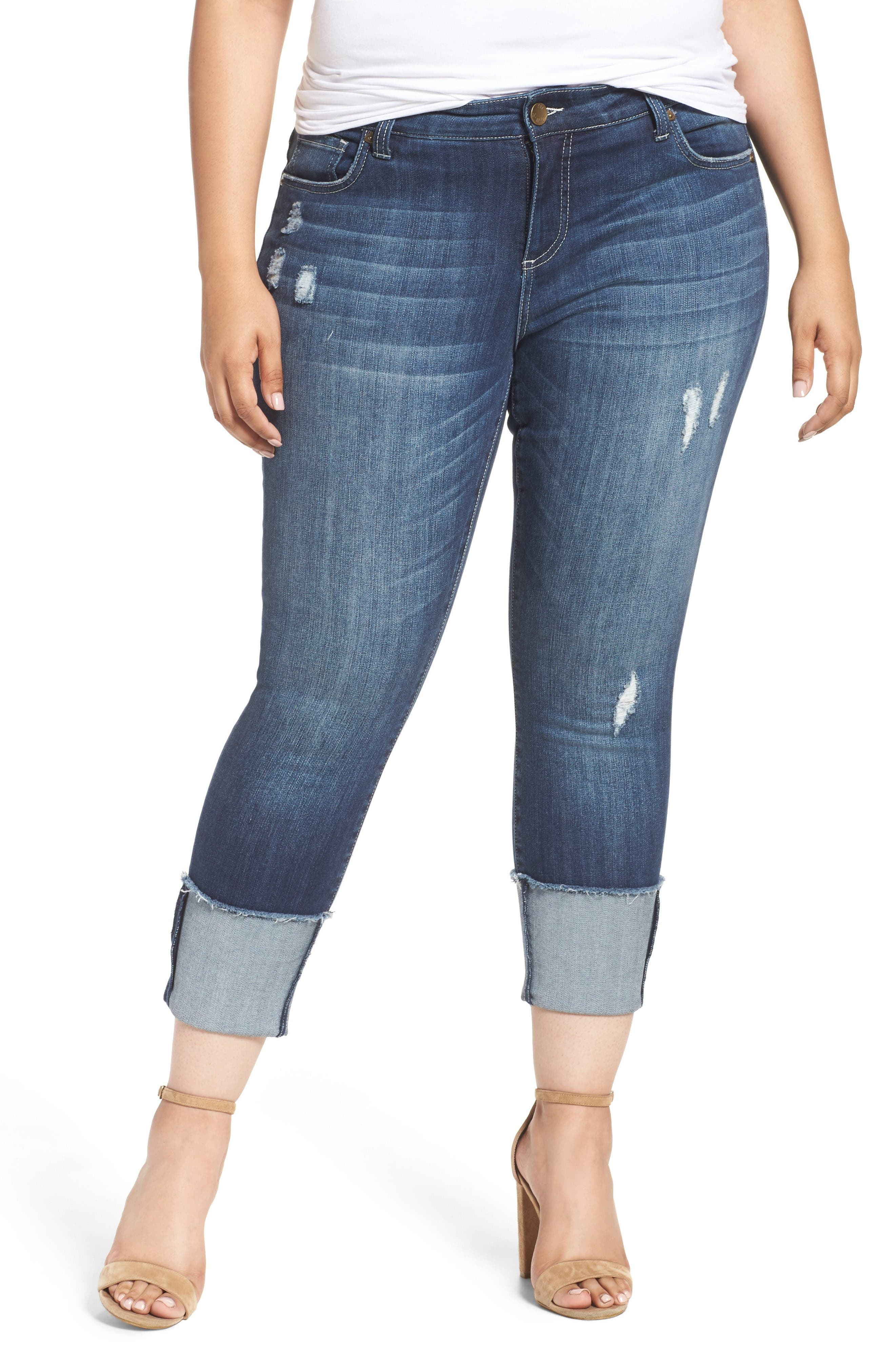 Alternate Image 1 Selected - KUT from the Kloth Cameron Cuffed Straight Leg Jeans (Arresting) (Plus Size)
