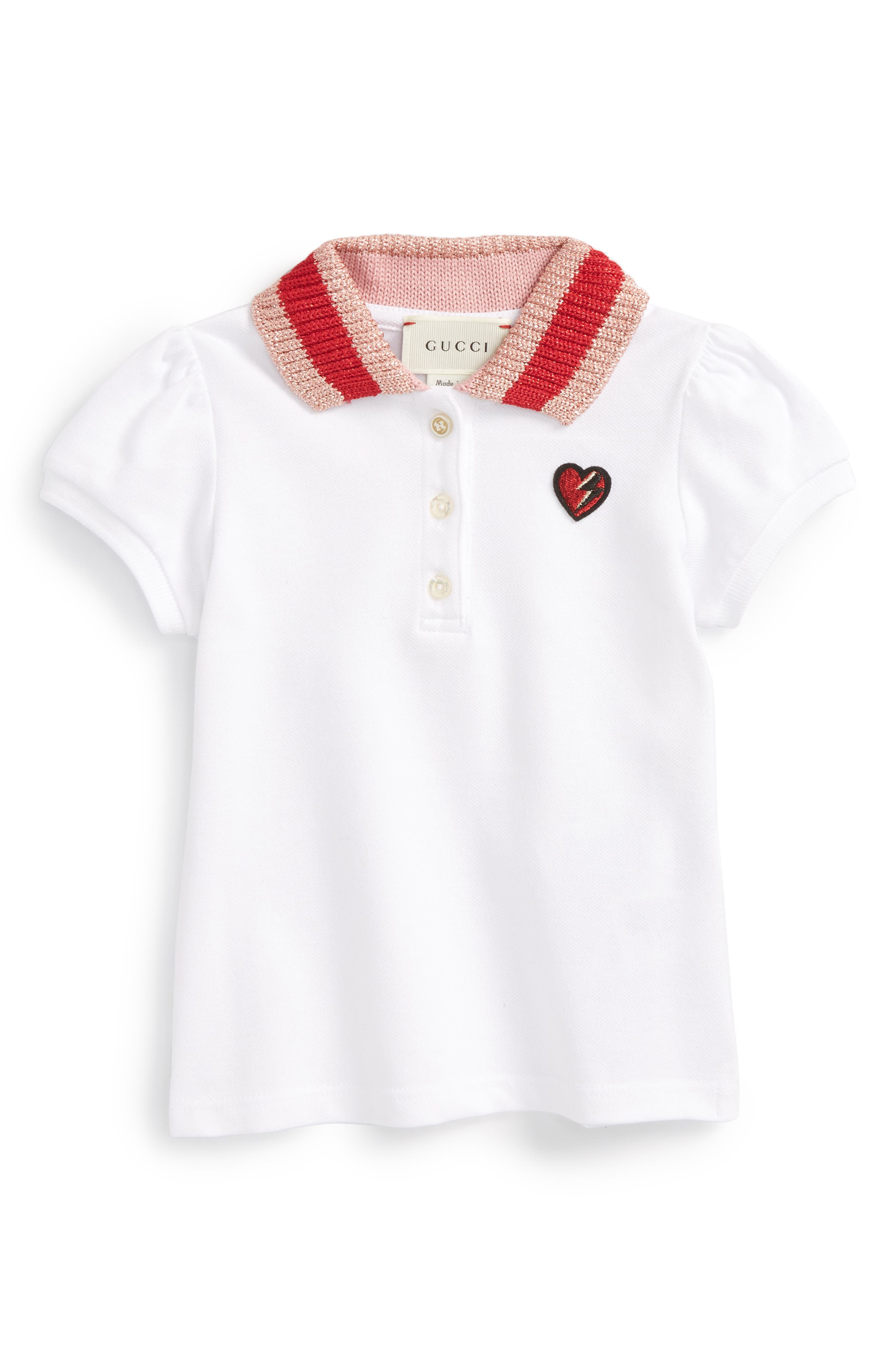 Gucci Heart Embroidered Polo (Baby Girls)