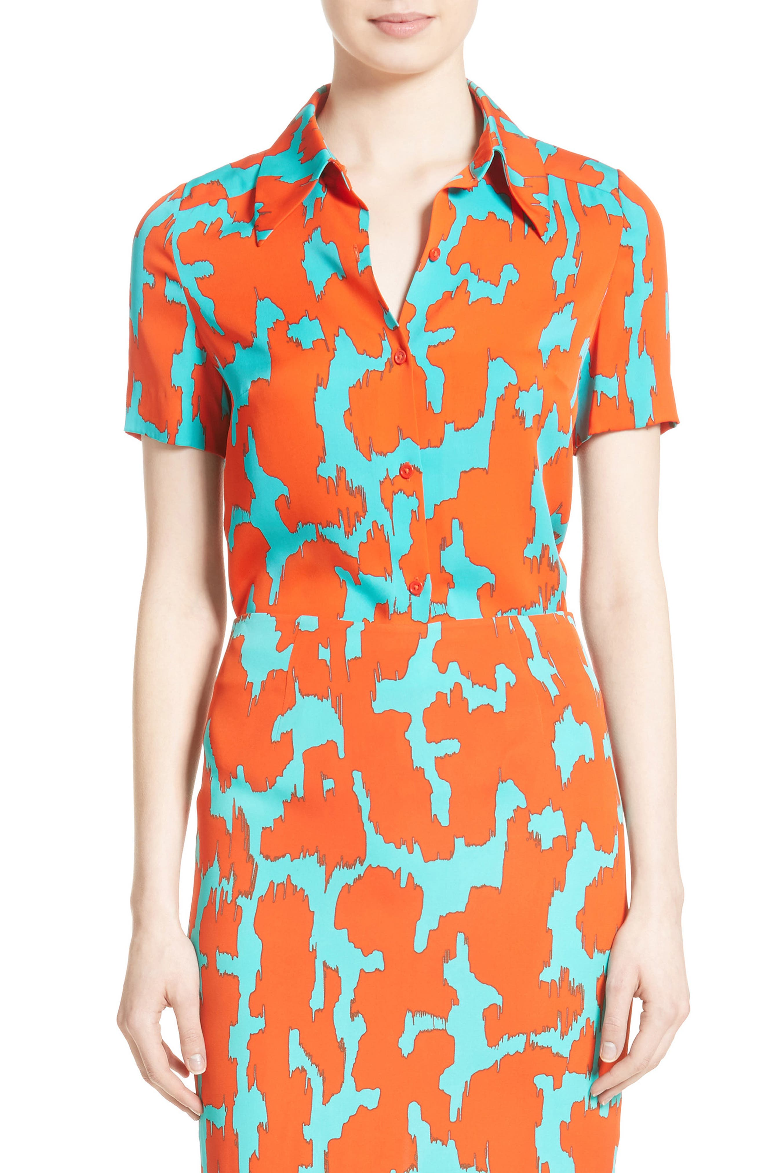 Diane von Furstenburg Print Stretch Silk Shirt