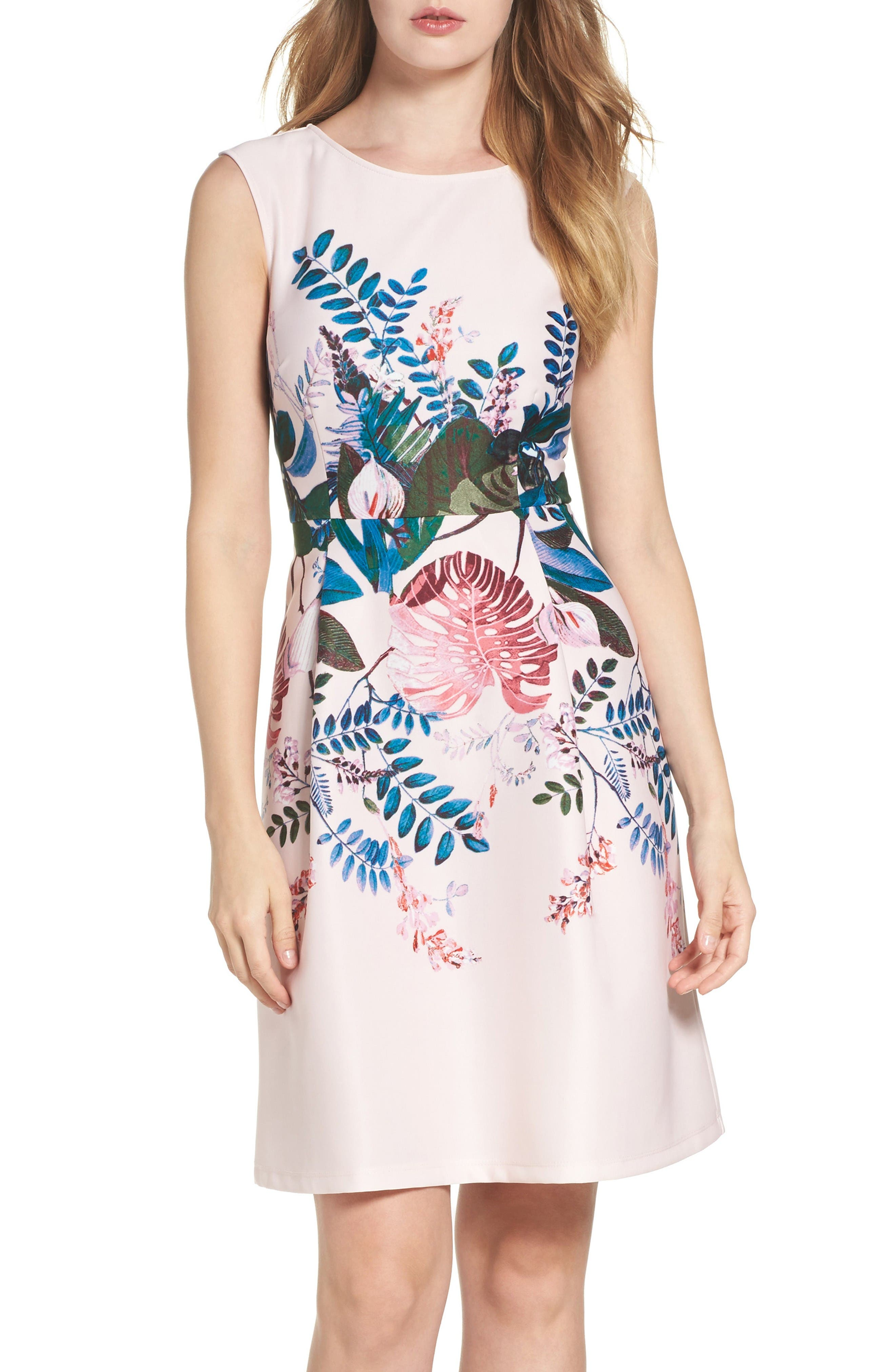 Main Image - Adrianna Papell Placed Print Fit & Flare Dress