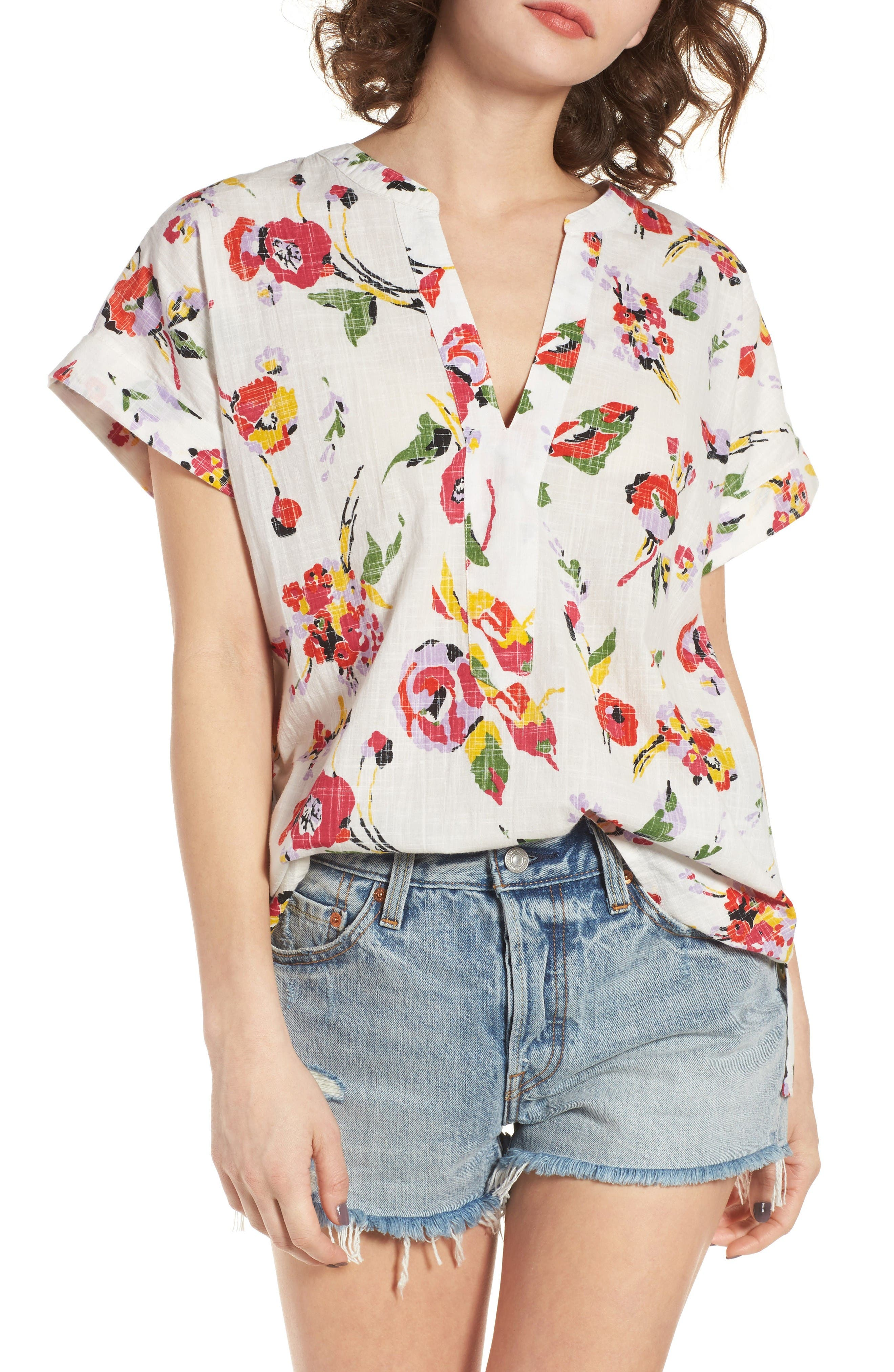 Obey Desi Floral Print Tunic Top
