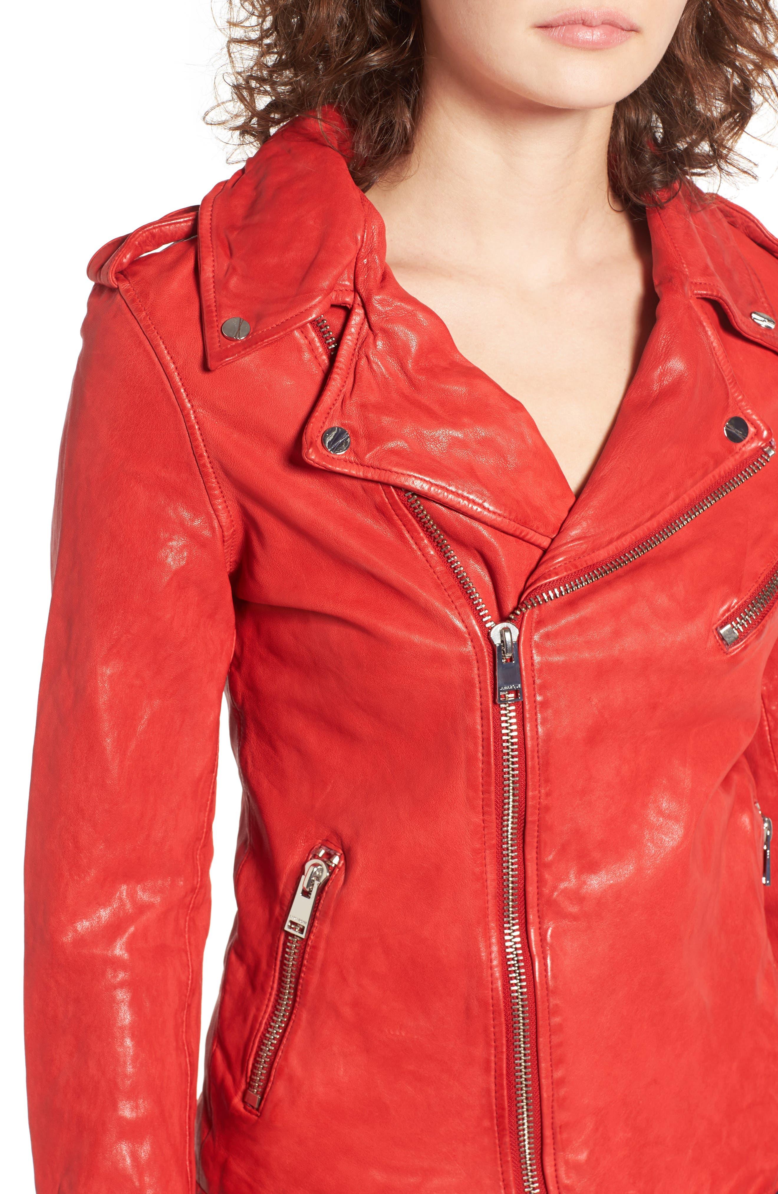 Alternate Image 4  - LAMARQUE Washed Lambskin Leather Moto Jacket
