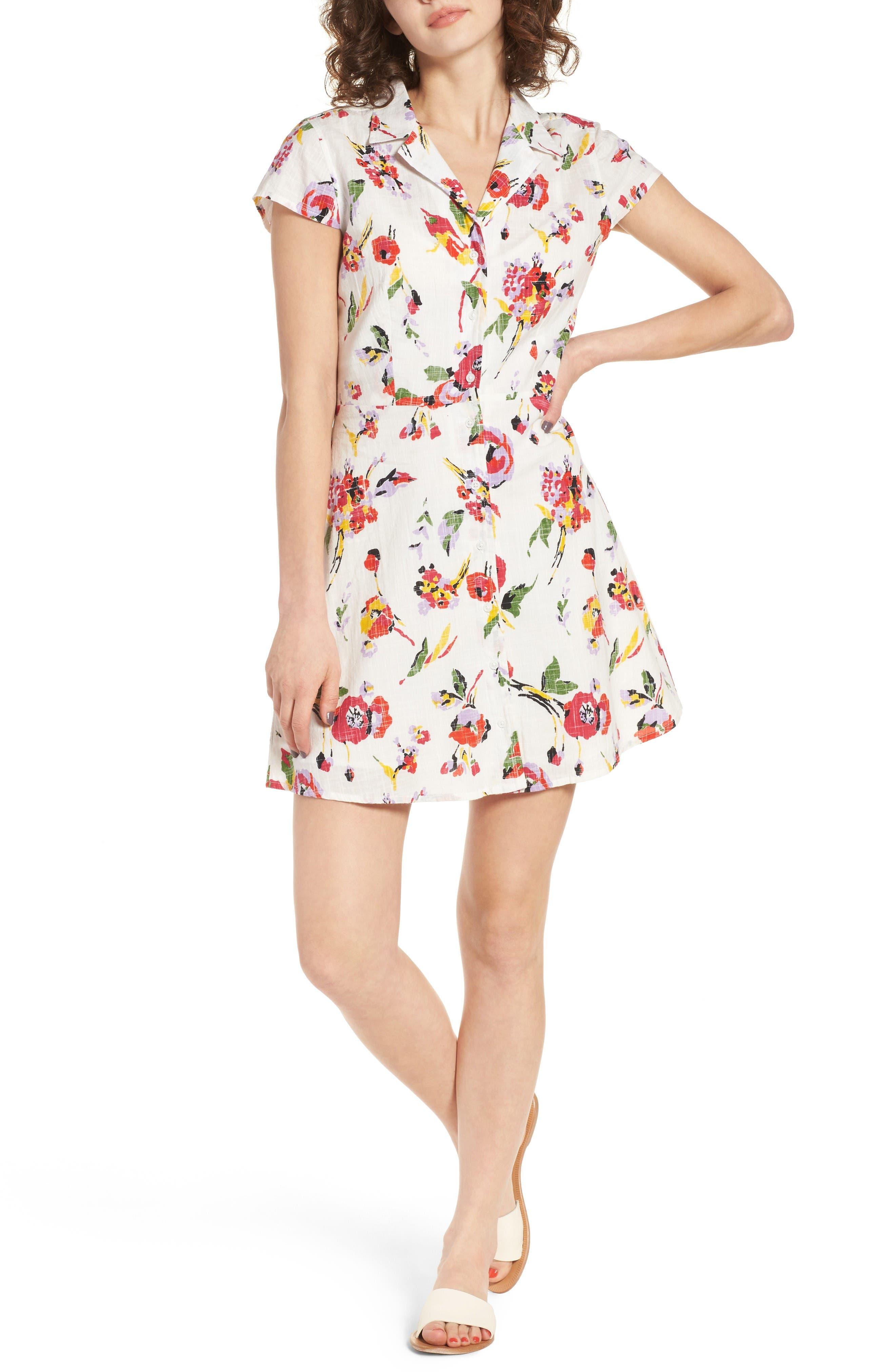 Obey Desi Floral Print Cotton Dress
