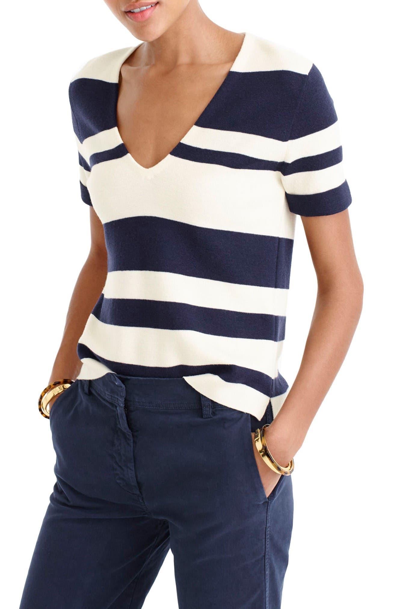 Main Image - J.Crew Stripe Wool V-Neck Sweater