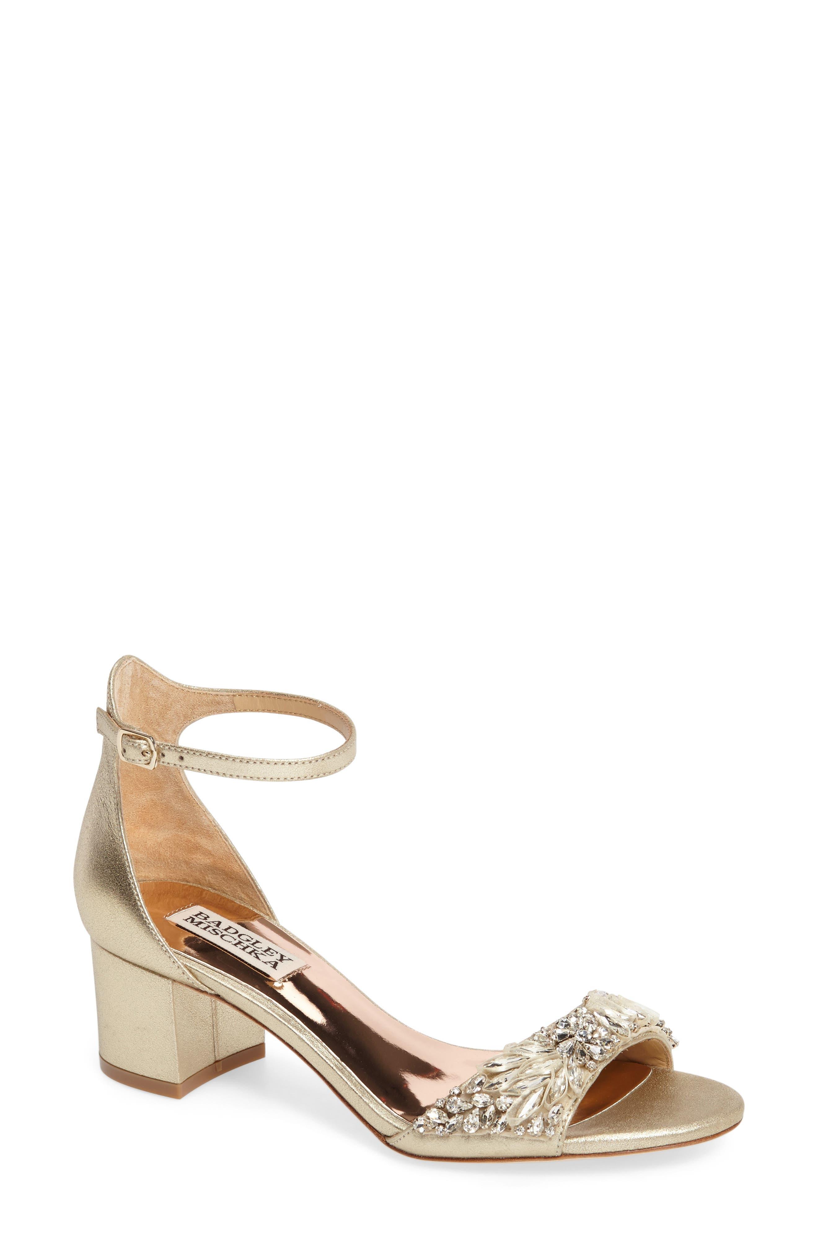 Badgley Mischka Tamara Crystal Block Heel Sandal (Women)