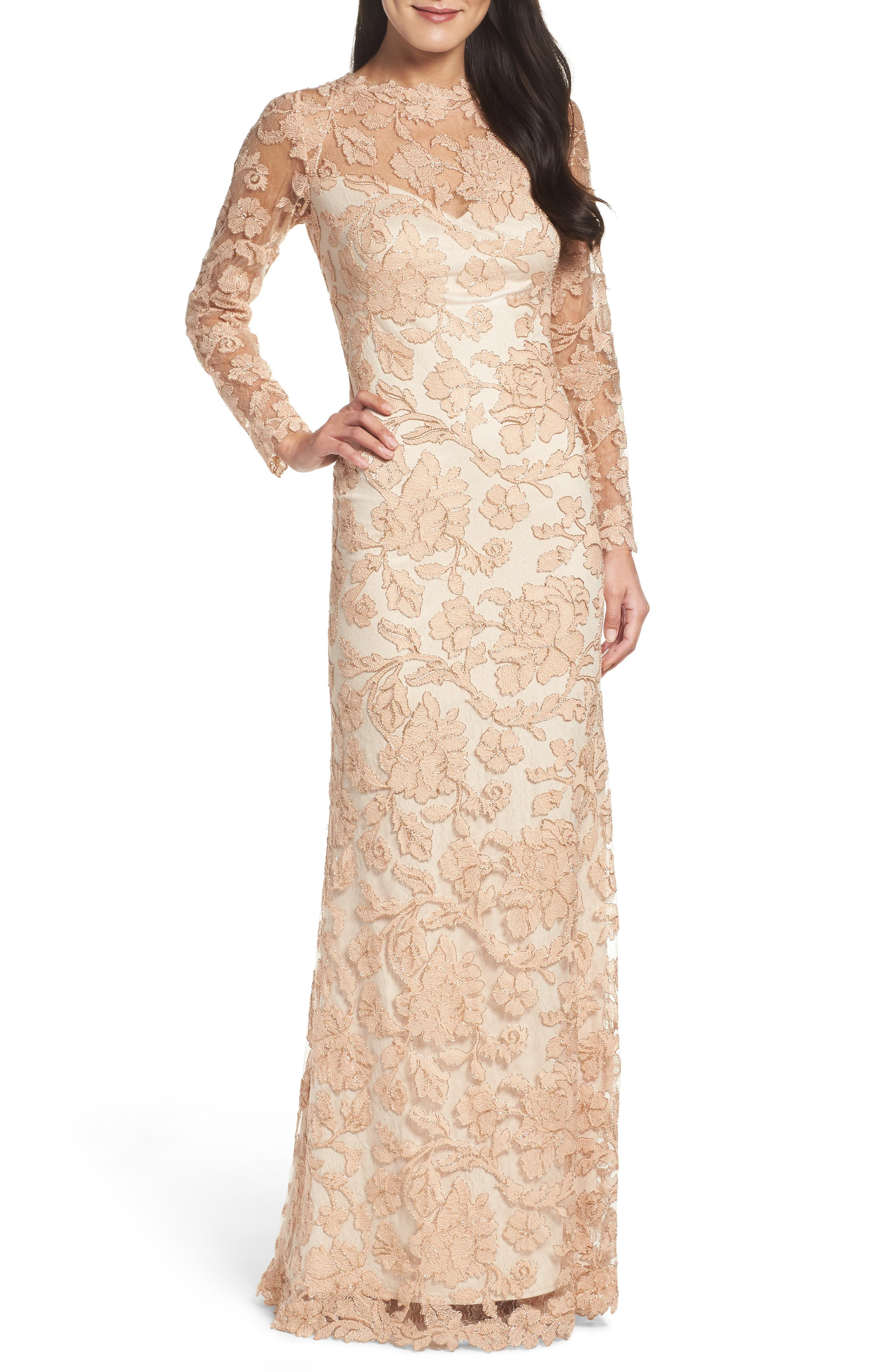 Tadashi Shoji Embroidered Lace Gown (Regular & Petite)