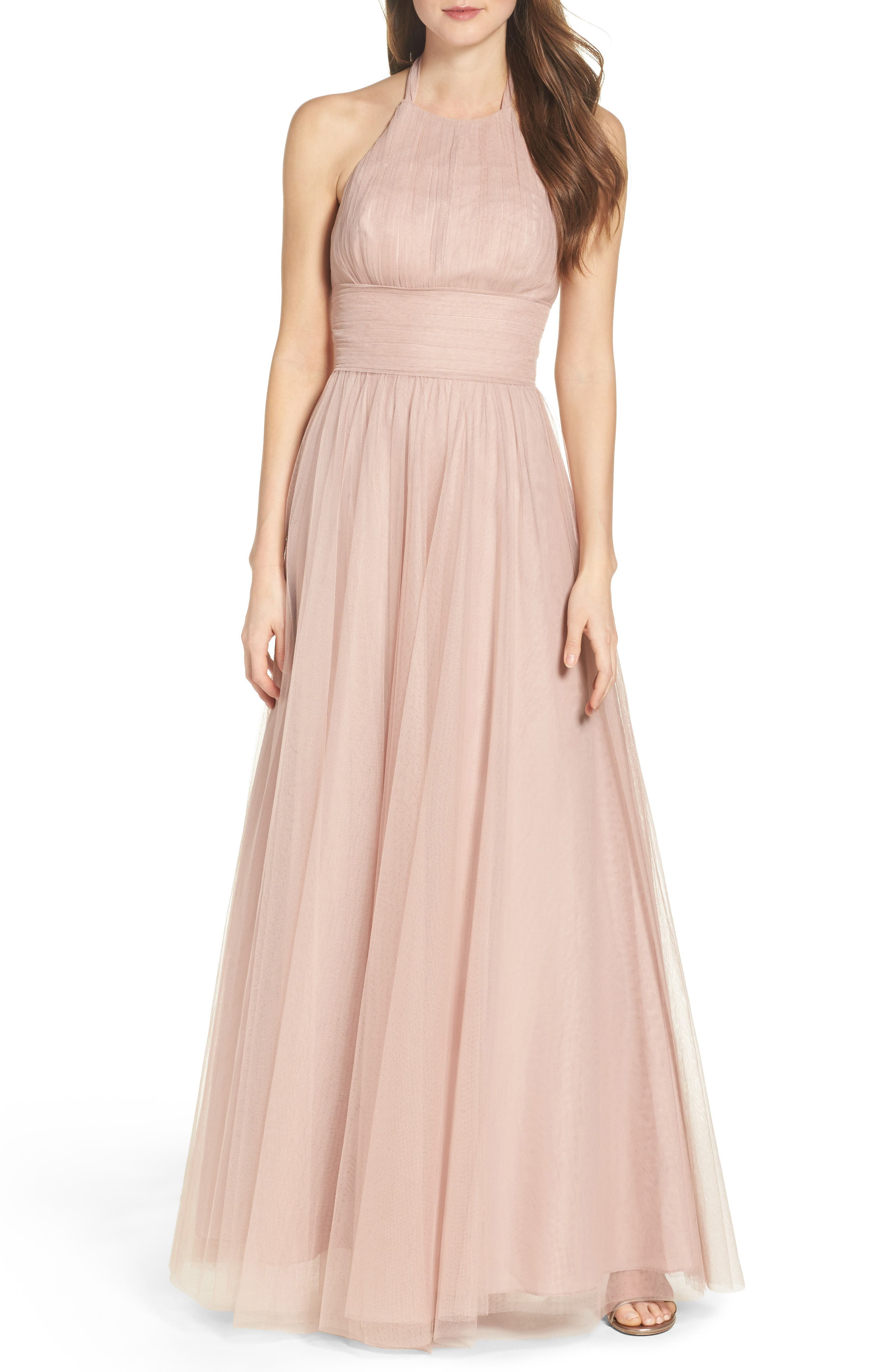 Watters Abigale Tulle Halter Gown