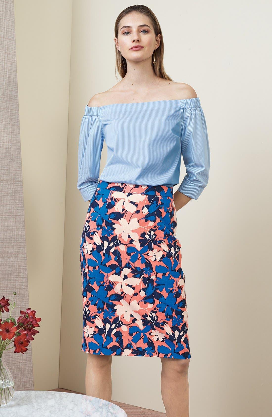 Alternate Image 2  - Halogen® Floral Print Pencil Skirt (Regular & Petite)