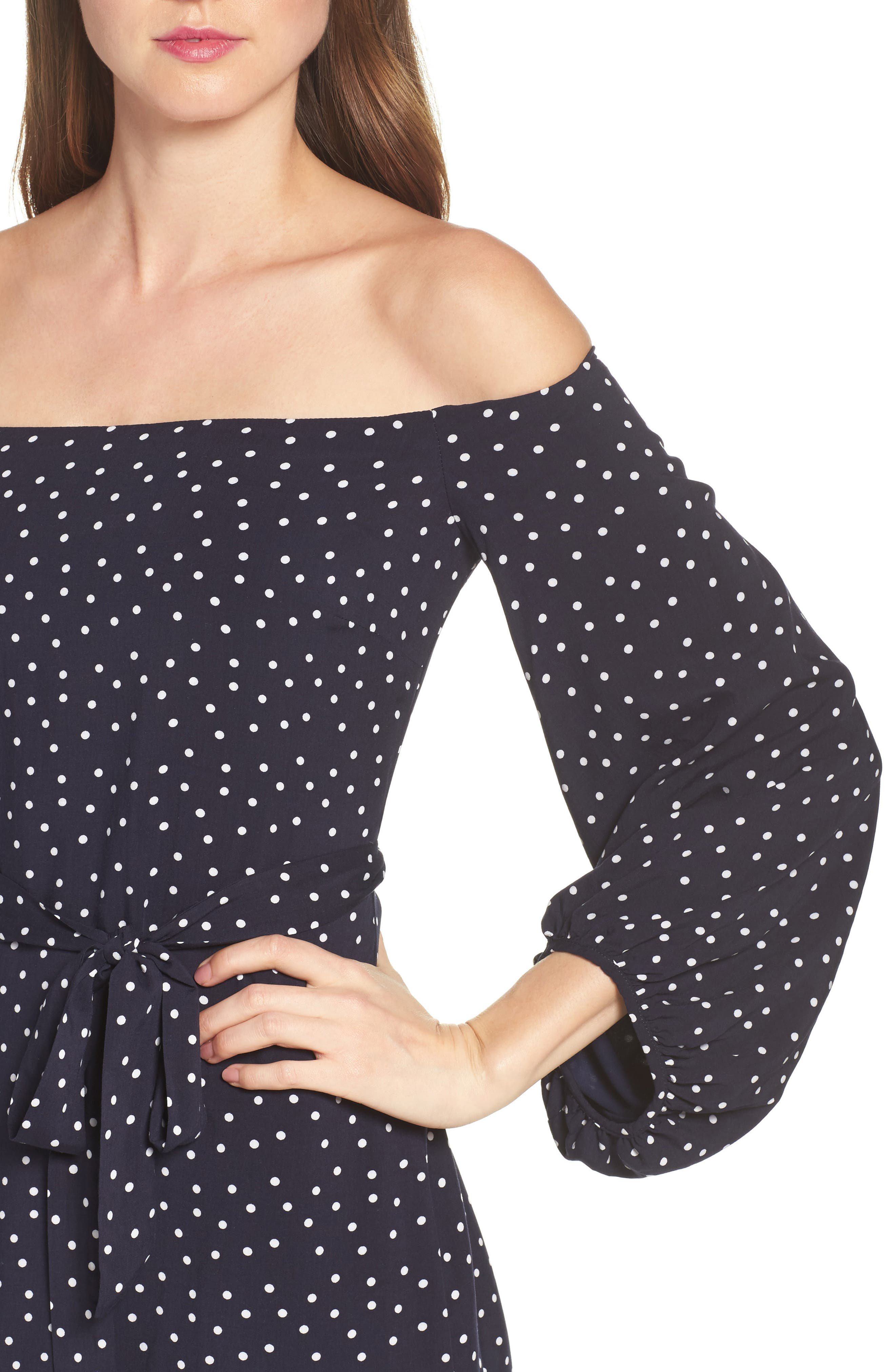 Alternate Image 5  - Bardot Polka Dot Off the Shoulder Dress