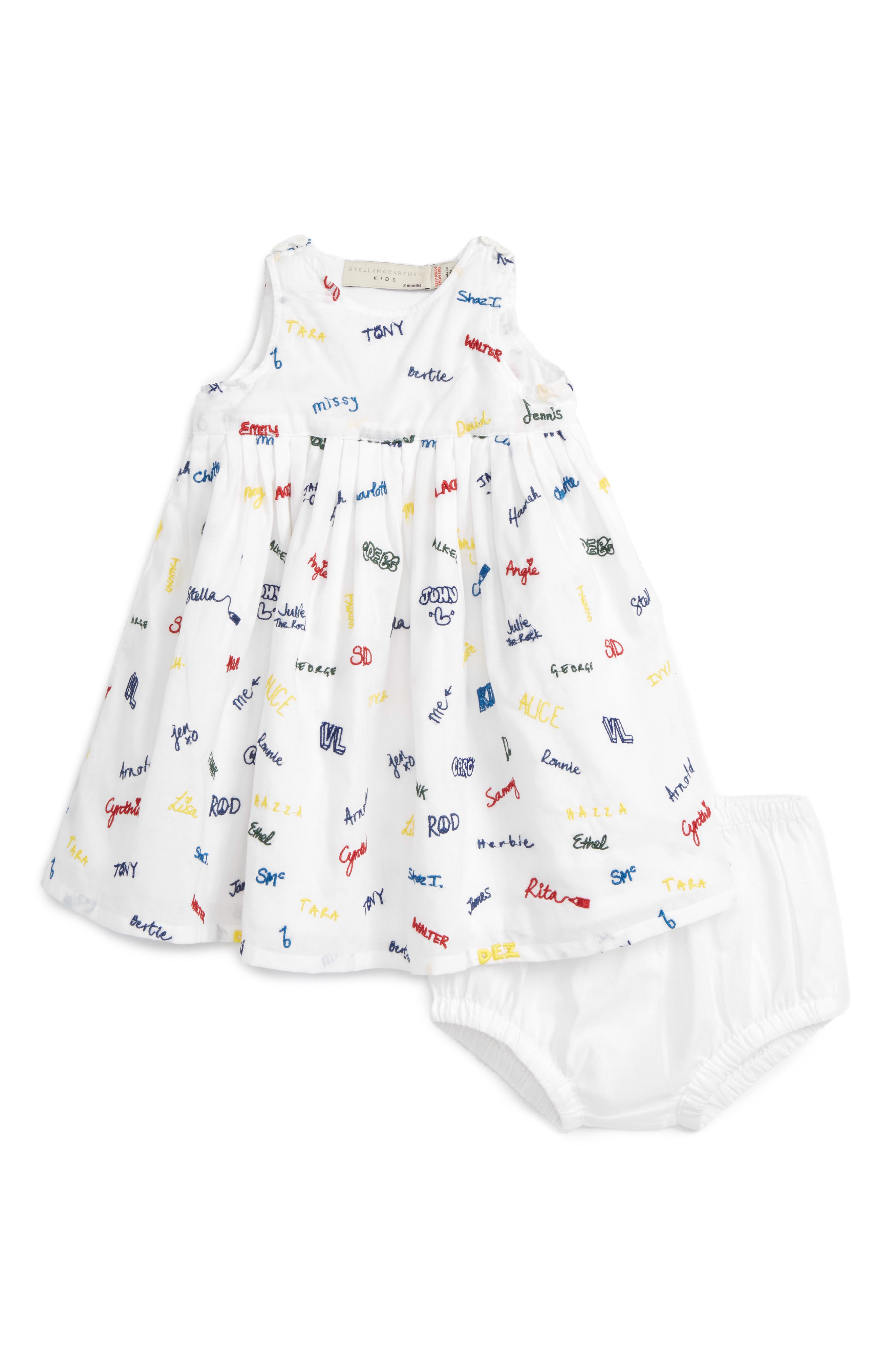 Stella McCartney Kids Flossie Name Print Dress (Baby Girls)