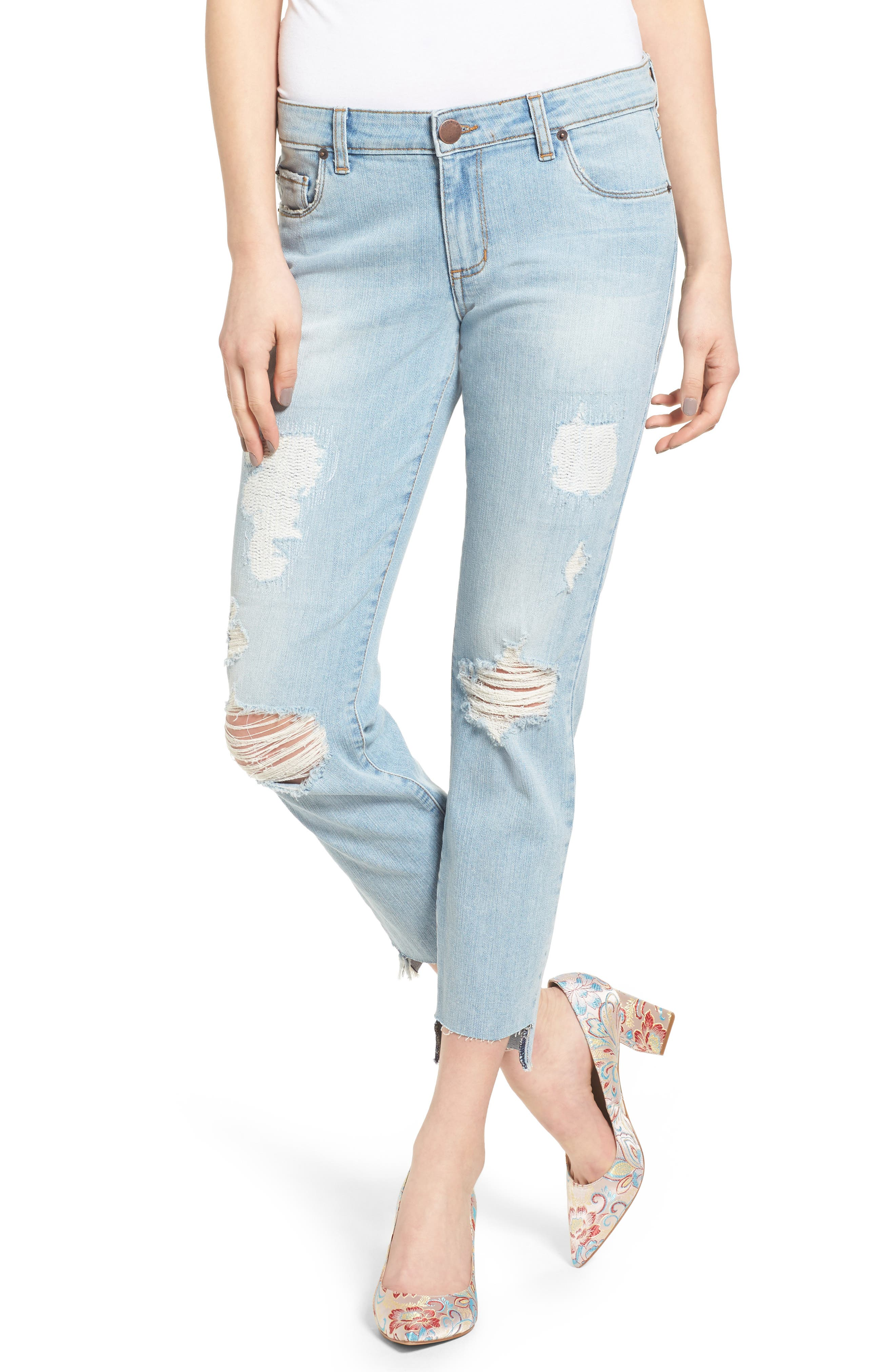 Alternate Image 1 Selected - STS Blue Taylor Tomboy Ripped Boyfriend Jeans with Step Hem (Lakeshore)