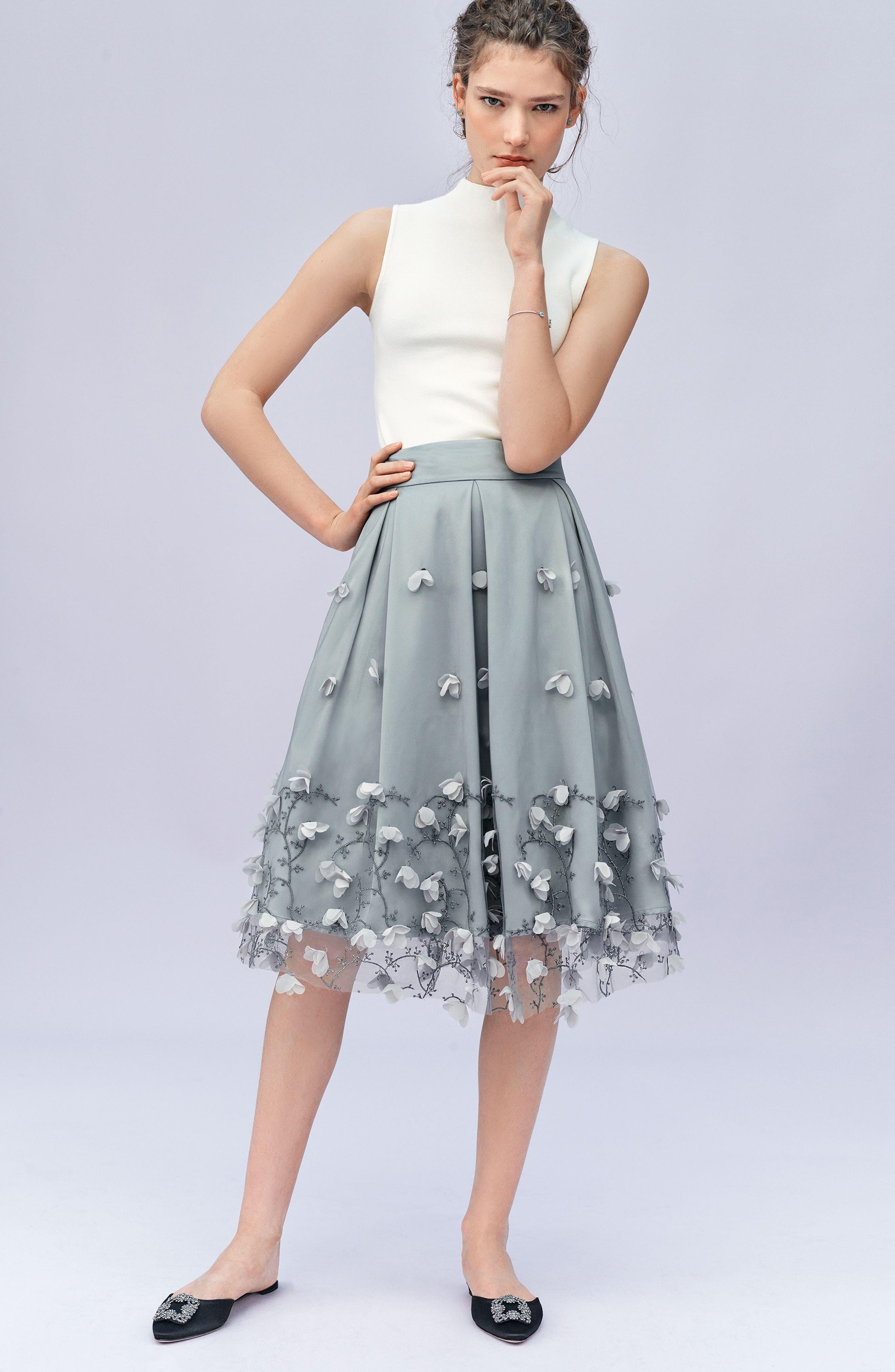 Alternate Image 2  - Eliza J Floral Appliqué Ball Skirt