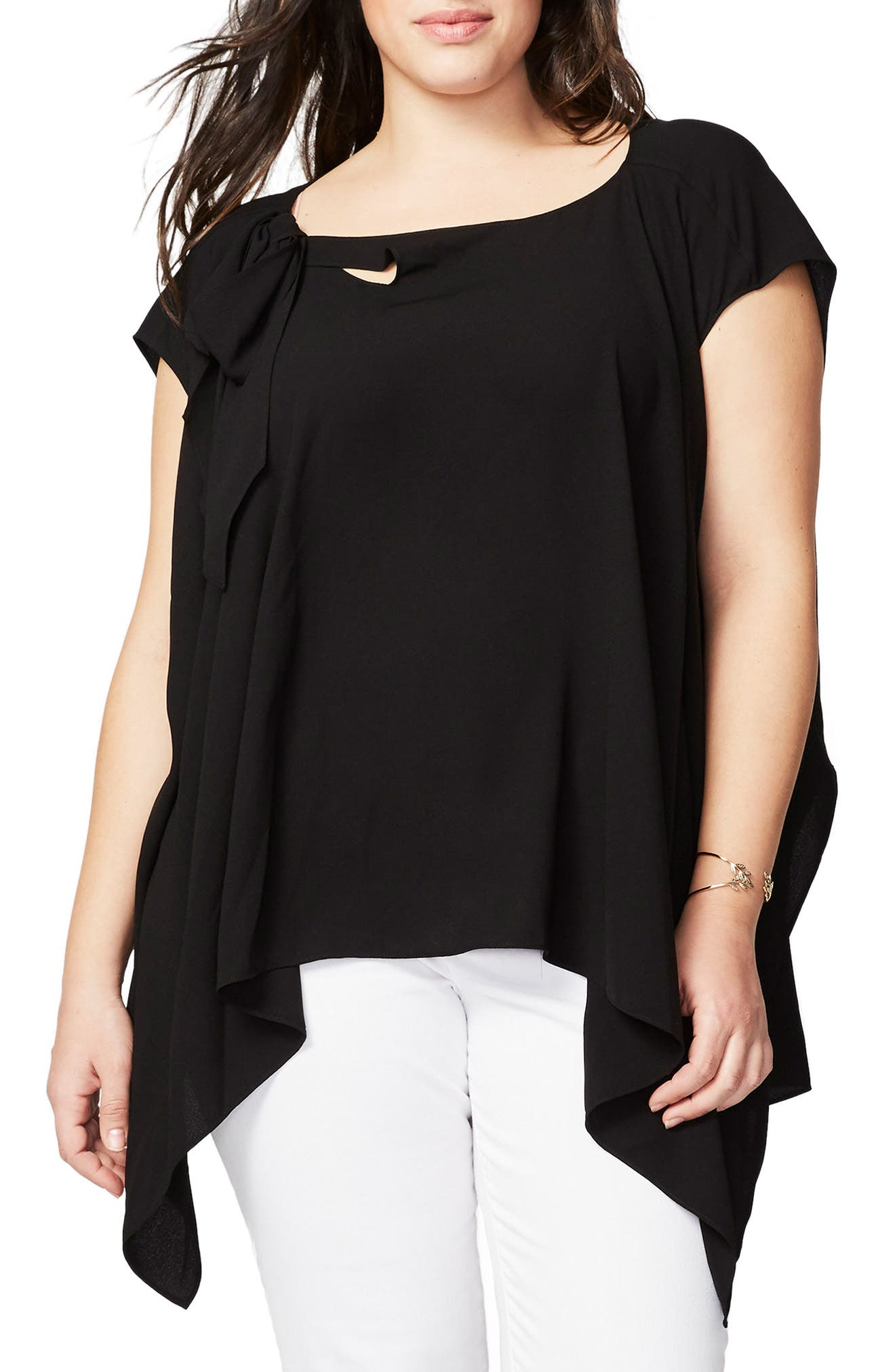 RACHEL Rachel Roy Vintage Bow Side Drape Blouse (Plus Size)