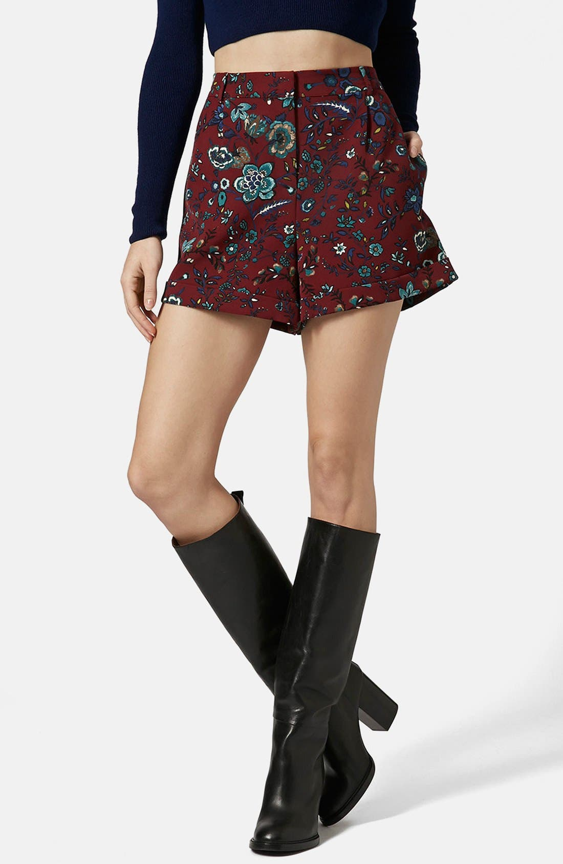 Alternate Image 1 Selected - Topshop 'Blueberry Flower' Cuff Shorts
