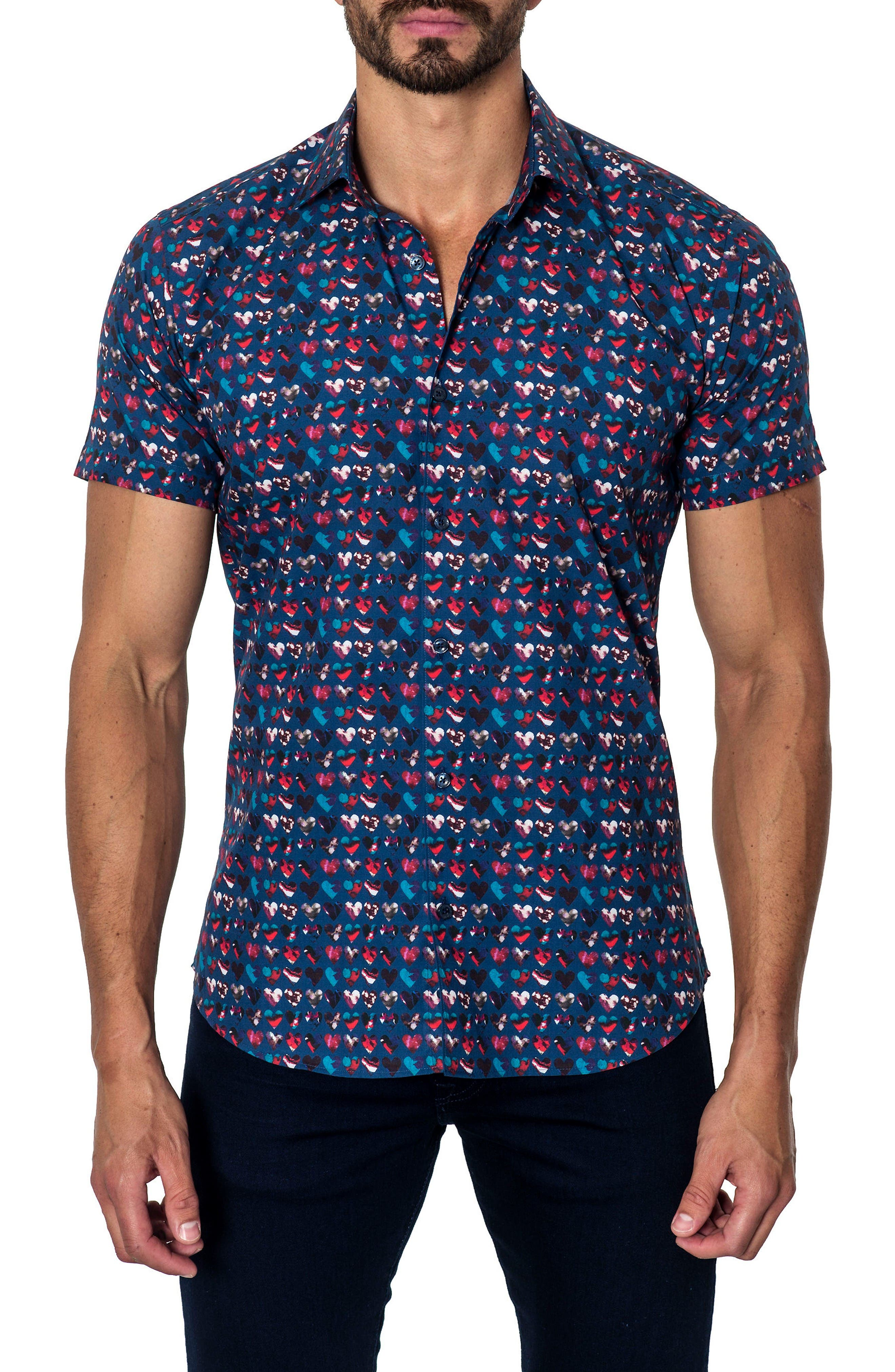 Jared Lang Trim Fit Print Sport Shirt