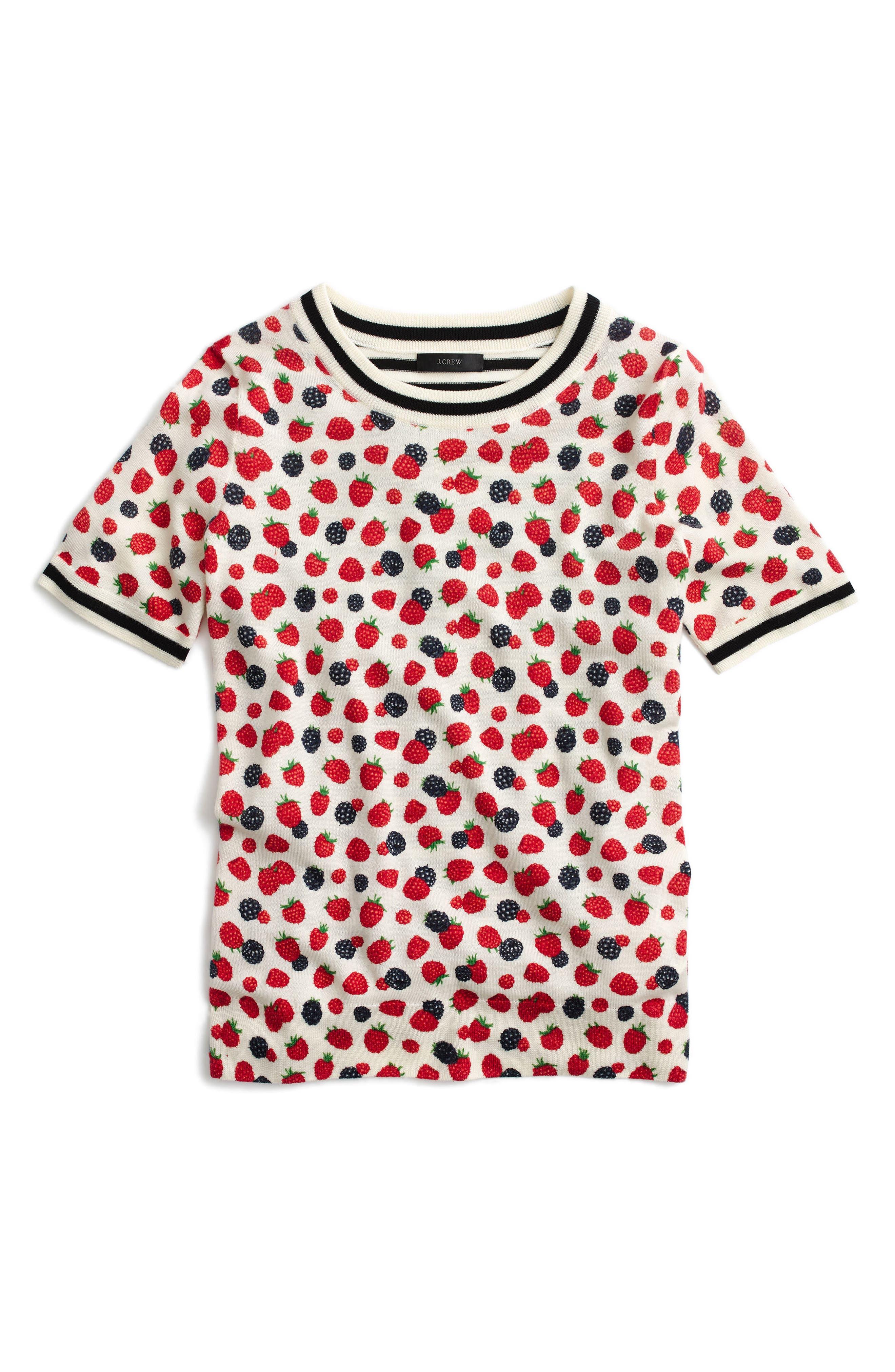 Alternate Image 1 Selected - J.Crew Tippi Berry Print Short Sleeve Sweater