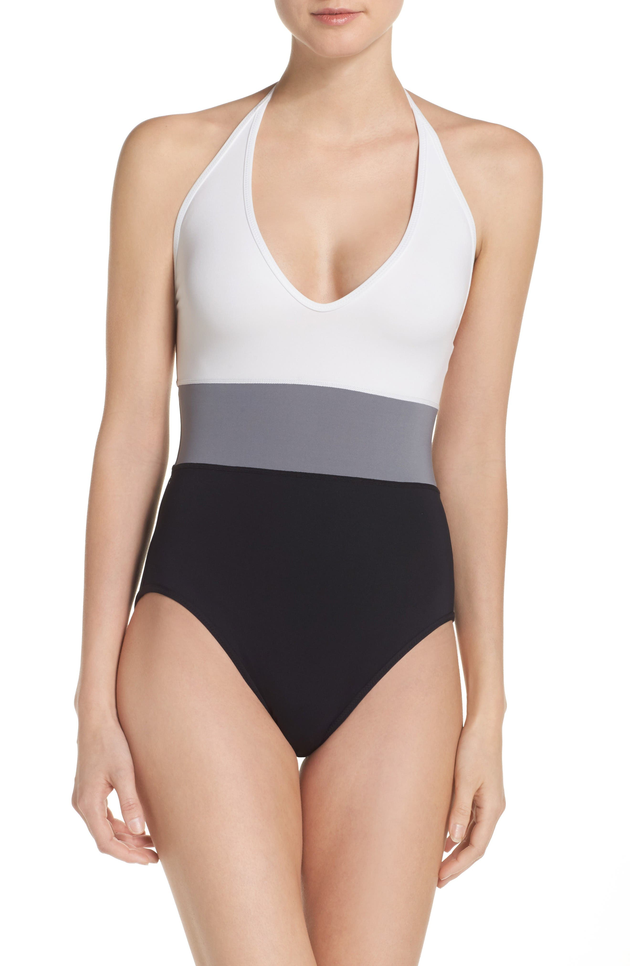 Alternate Image 1 Selected - Vince Camuto Halter One-Piece Swimsuit