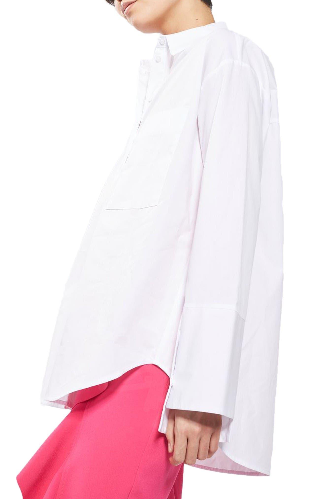 Main Image - Topshop Deep Cuff Oversize Shirt