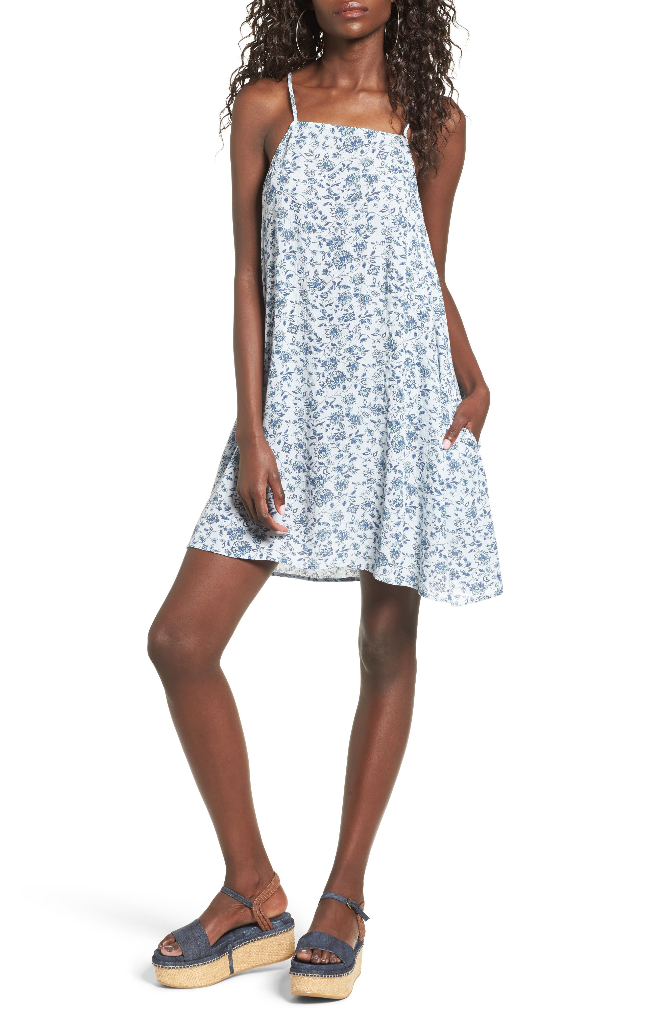 Mimi Chica Print Lattice Back Dress