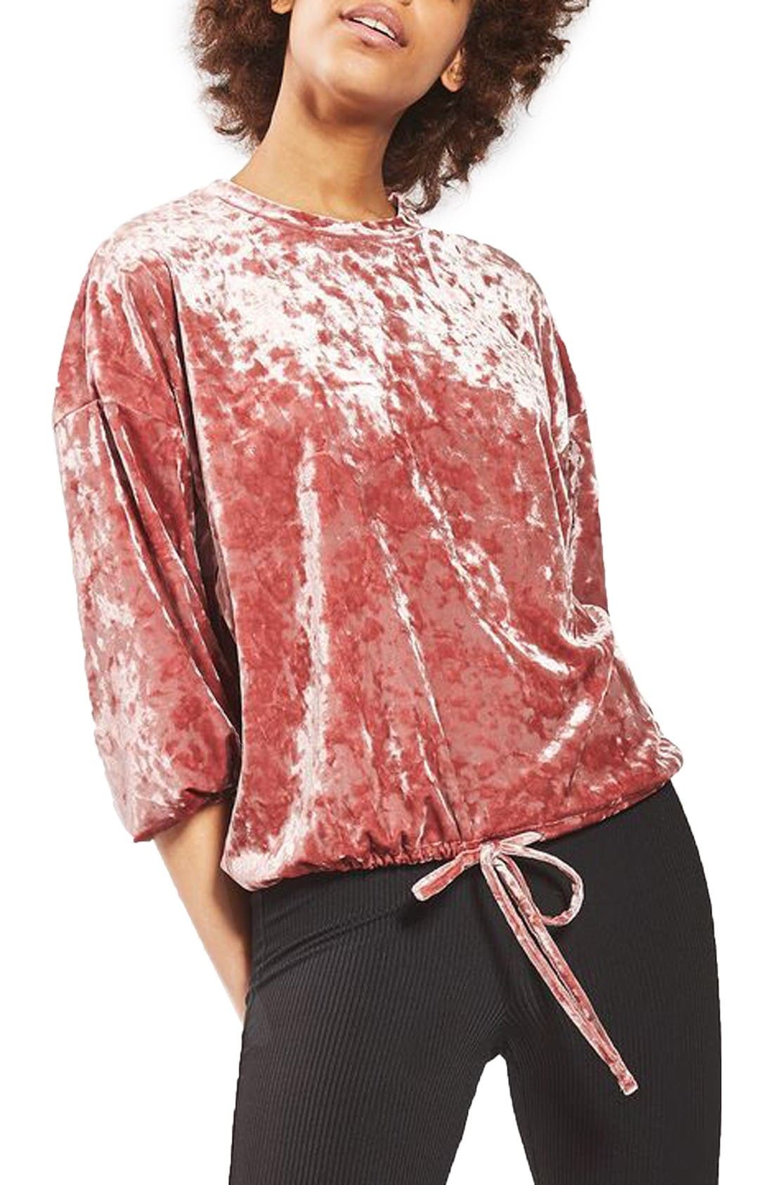 Alternate Image 1 Selected - Topshop Velvet Blouson Sweatshirt