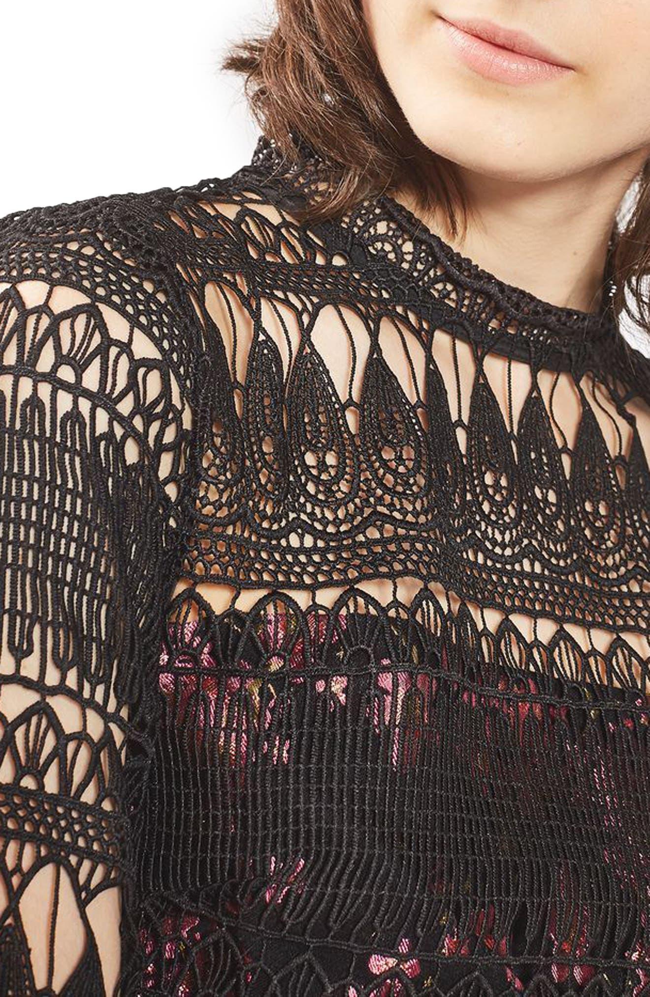 Alternate Image 5  - Topshop Lace & Jacquard Dress