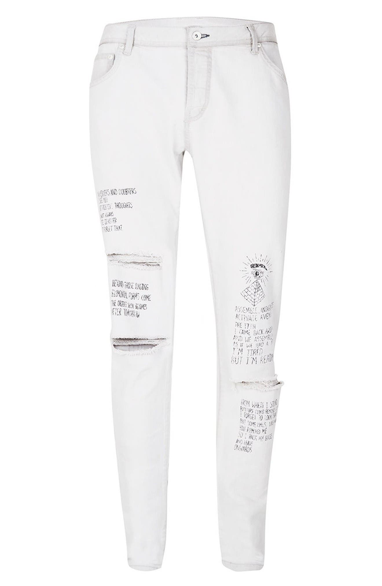 Alternate Image 6  - Topman AAA Collection Voices Print Skinny Fit Jeans