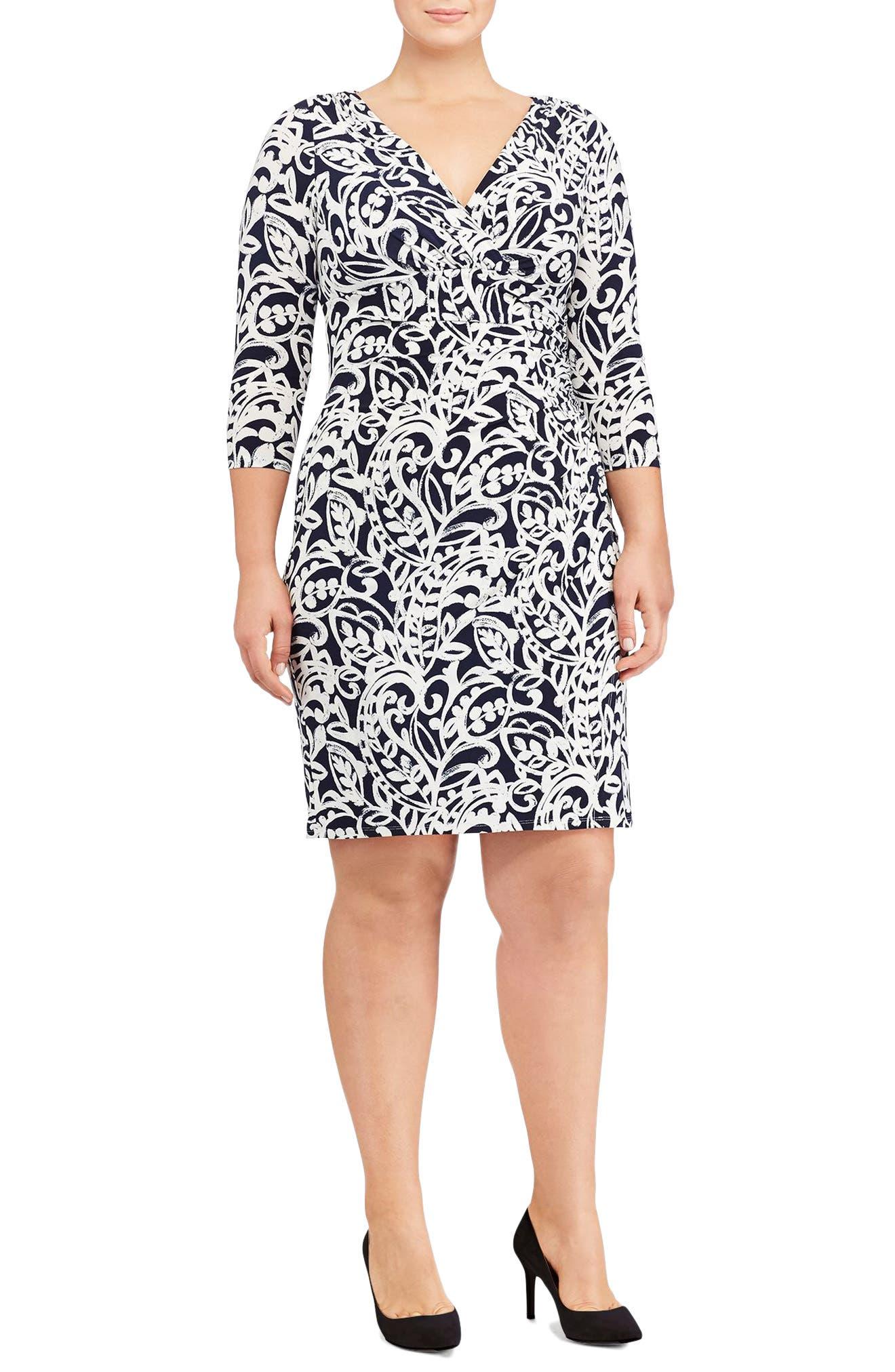 Lauren Ralph Lauren Paisley Faux Wrap Sheath Dress (Plus Size)