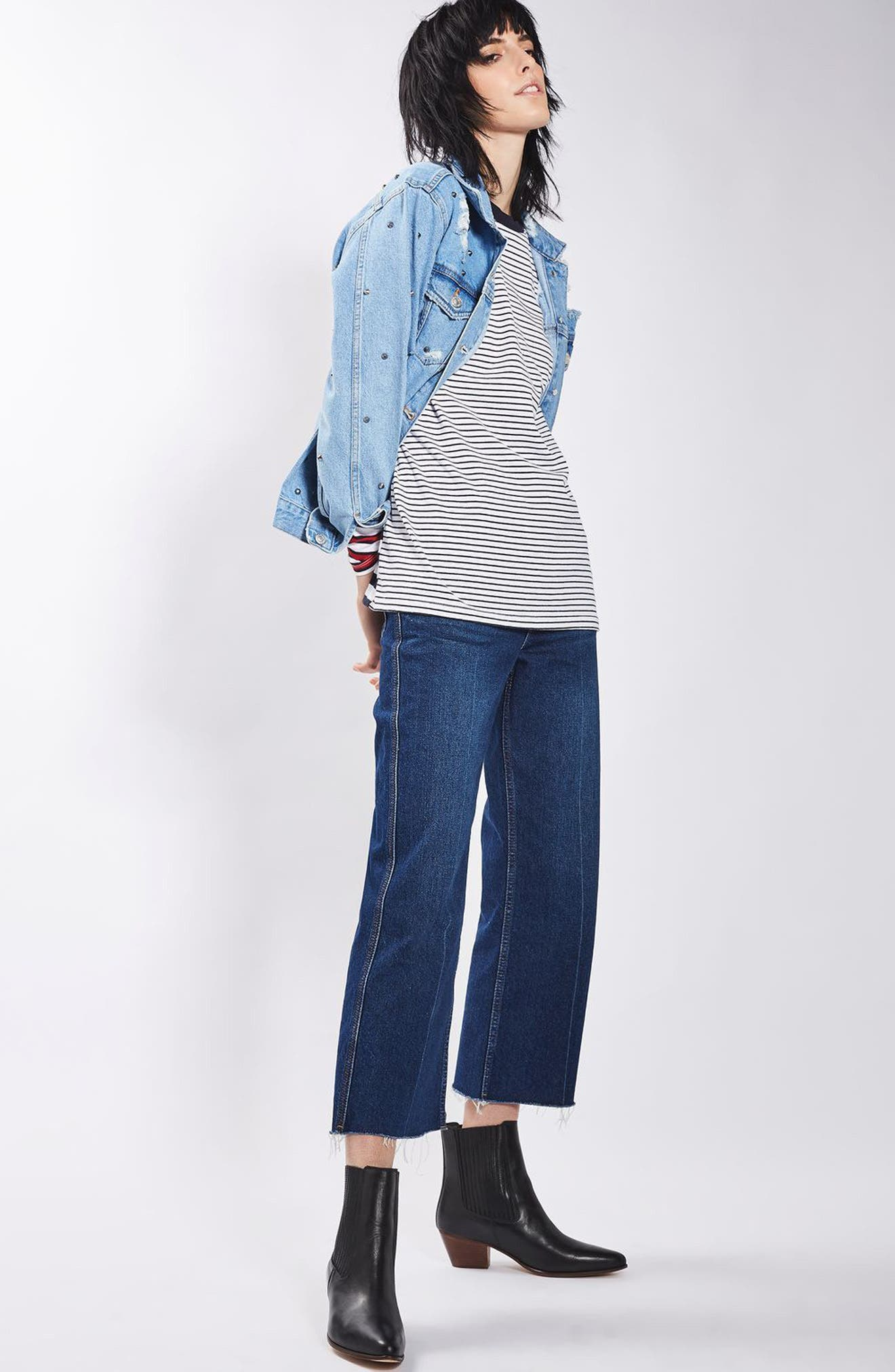 Alternate Image 2  - Topshop Studded Distressed Denim Jacket (Regular & Petite)