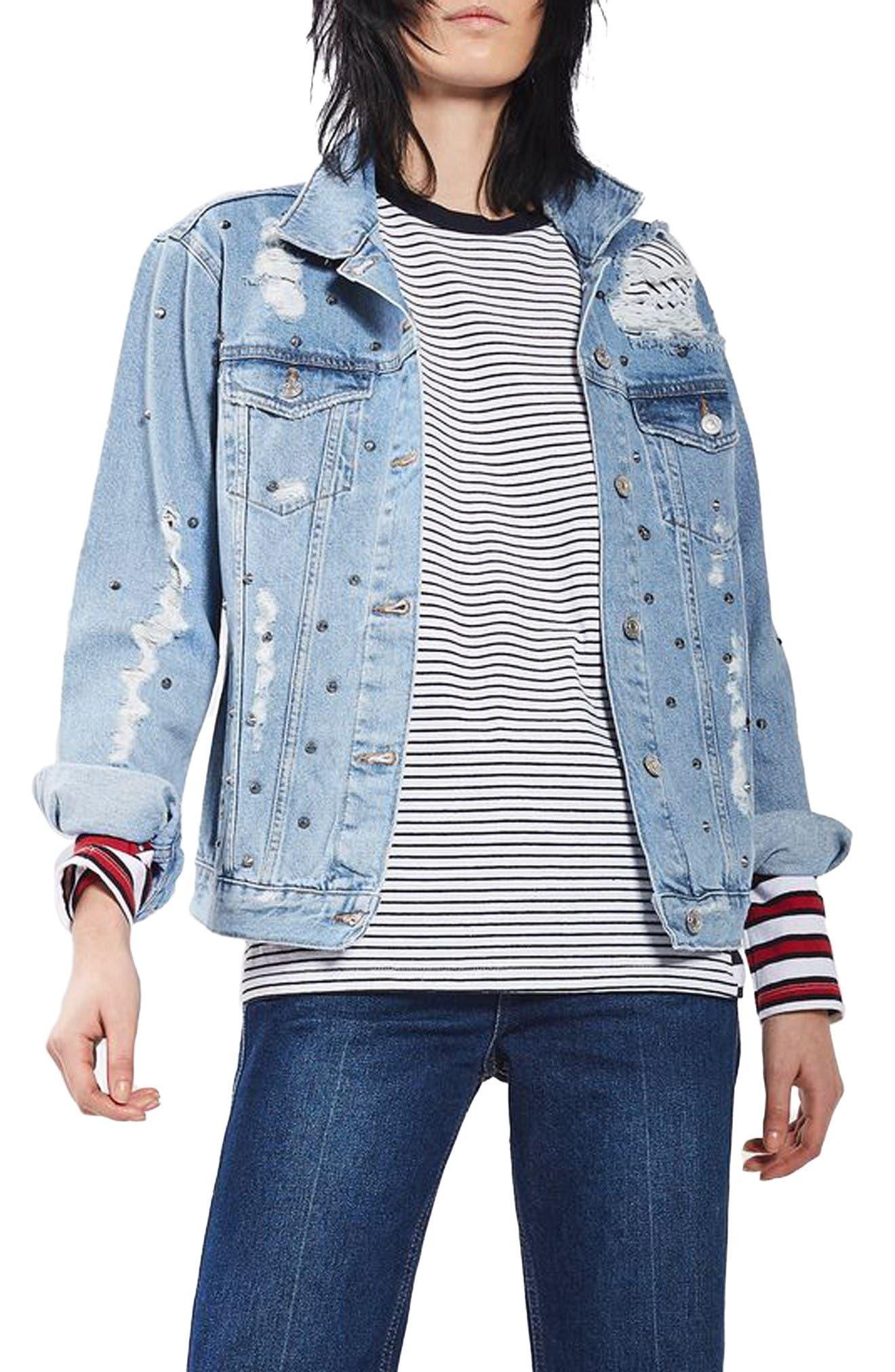 Main Image - Topshop Studded Distressed Denim Jacket (Regular & Petite)