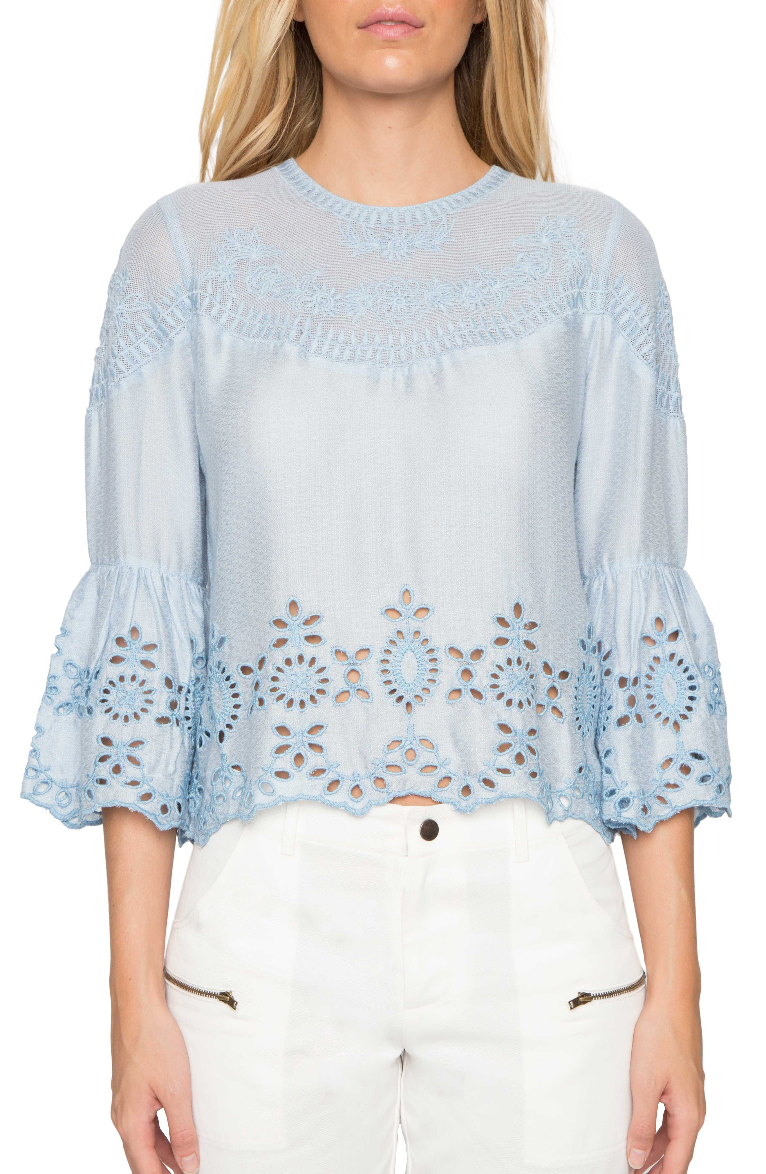 Willow & Clay Embroidered Bell Sleeve Top