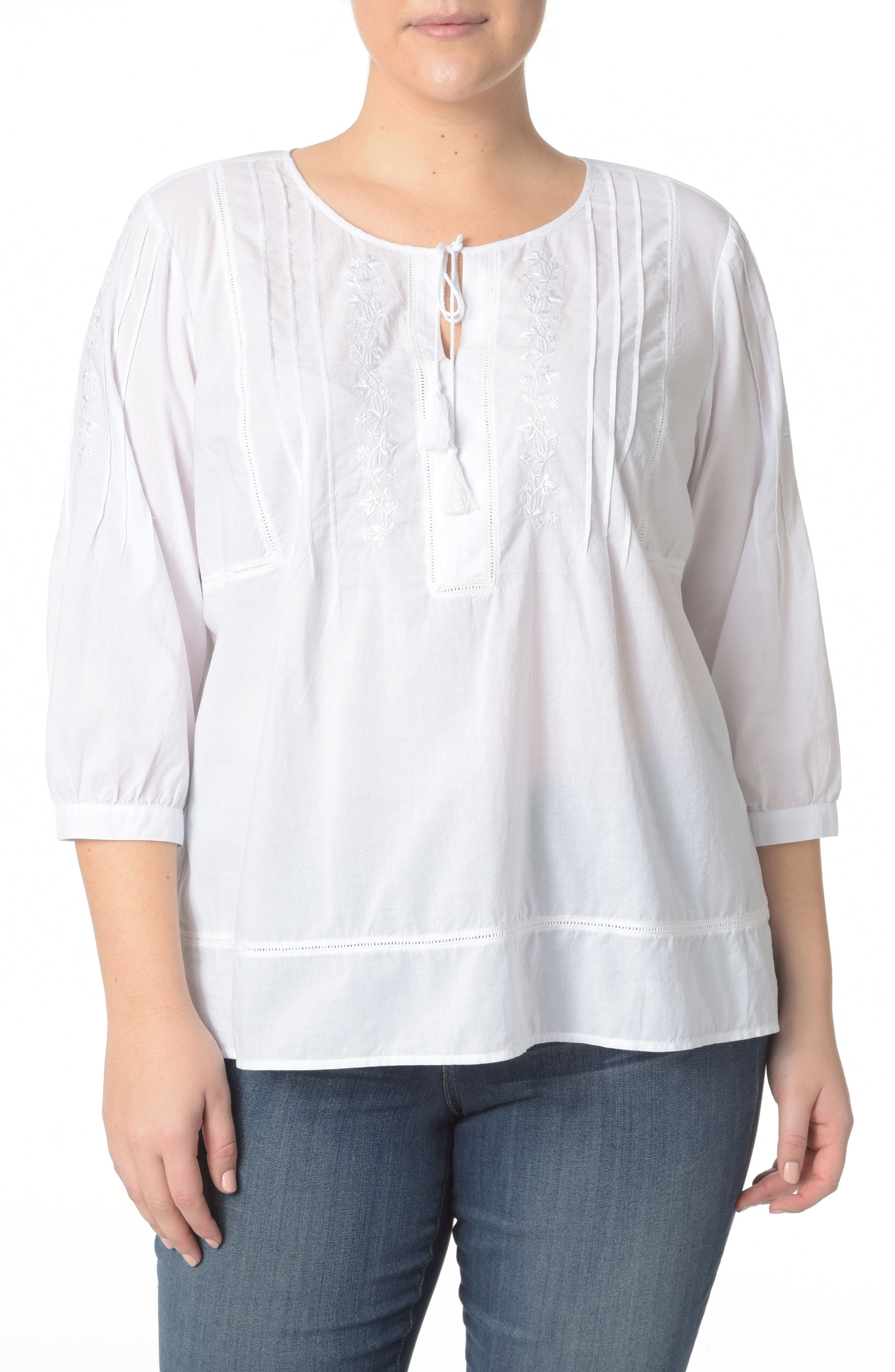 NYDJ Embroidered Voile Top (Plus Size)