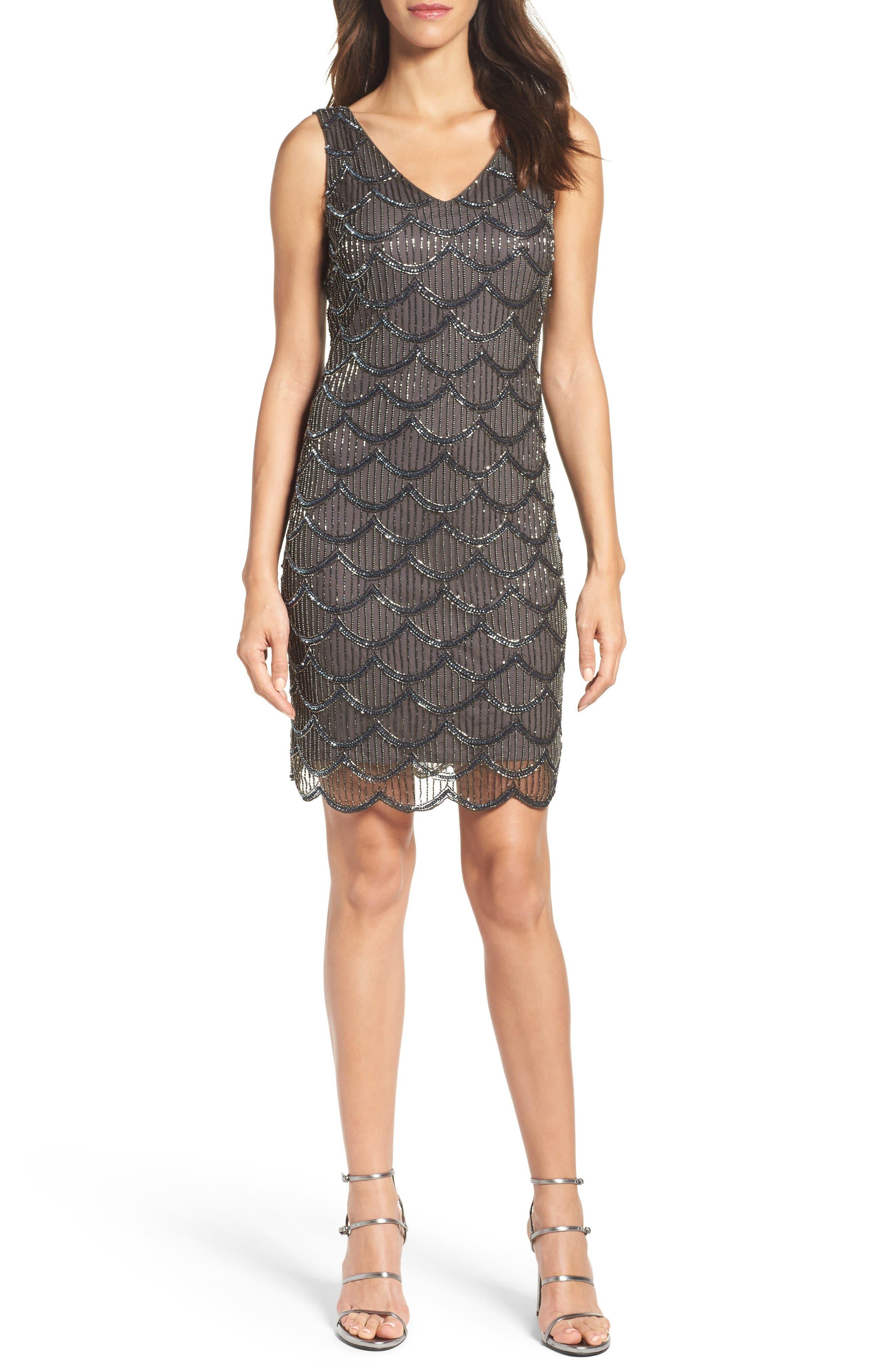 Pisarro Nights Fan Motif Embellished Sheath Dress