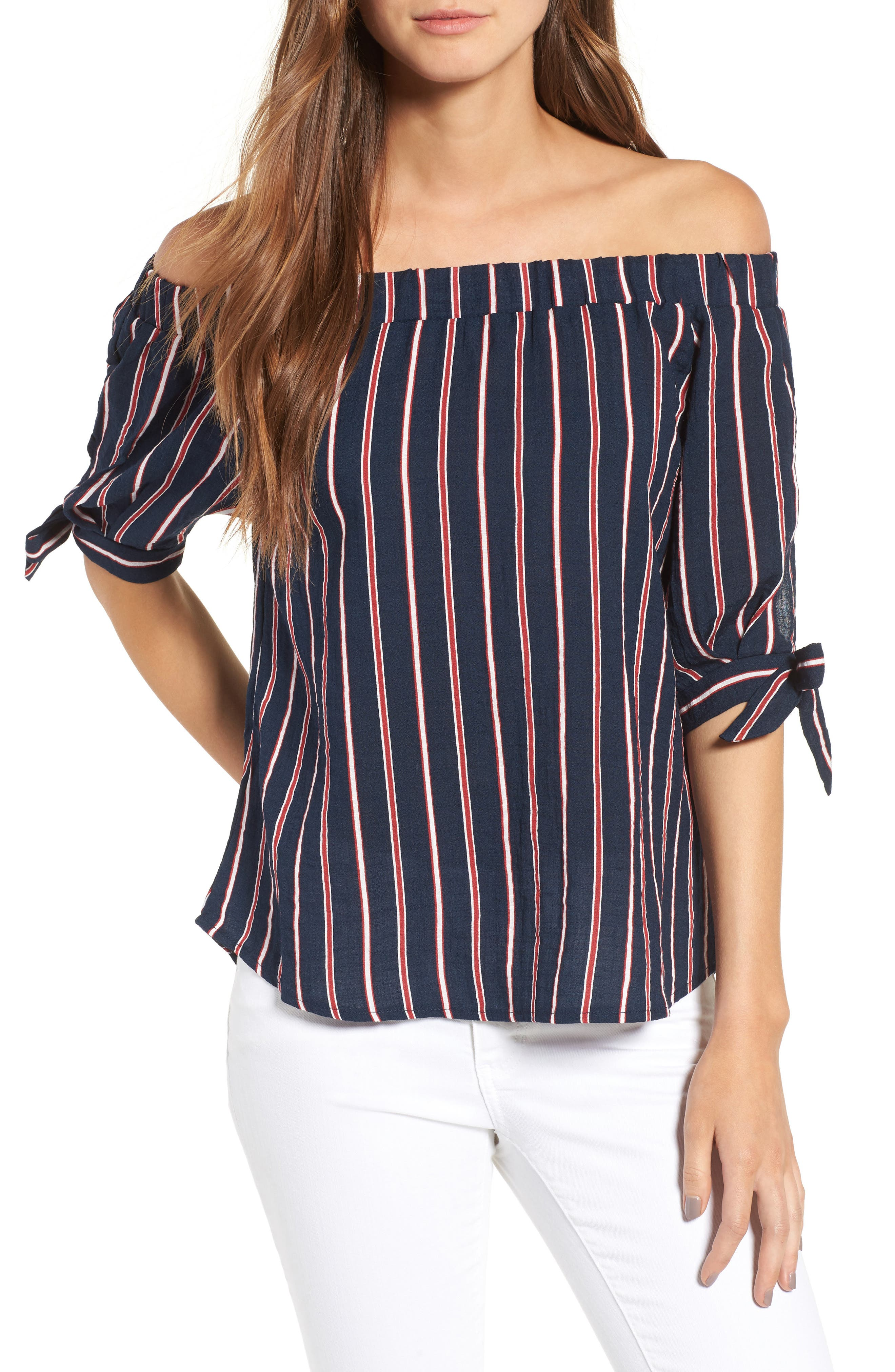 Main Image - THML Off the Shoulder Stripe Top