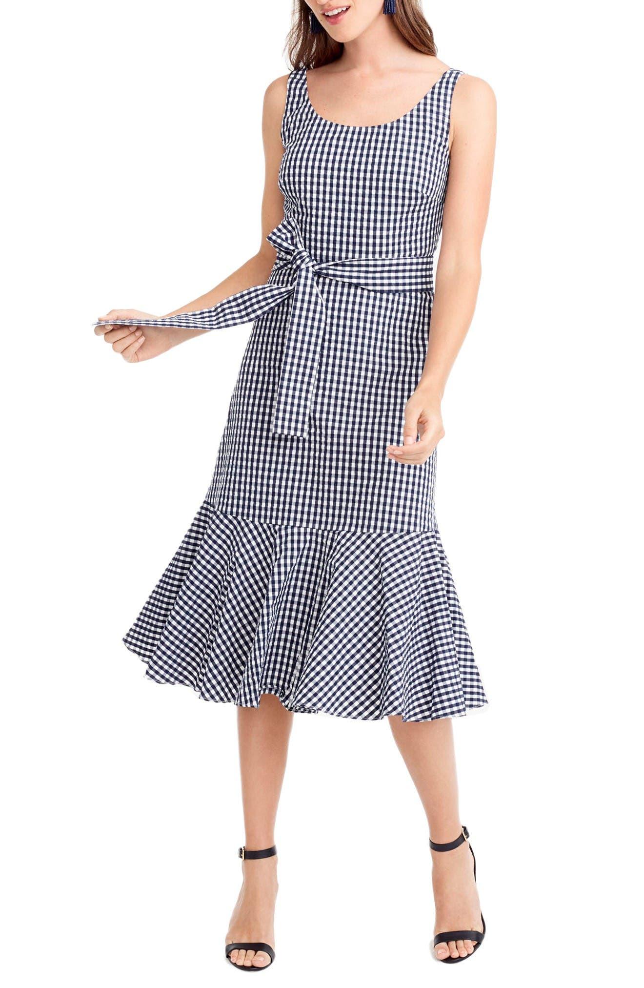 Main Image - J.Crew Gingham Ruffle Hem Midi Dress (Regular & Petite)