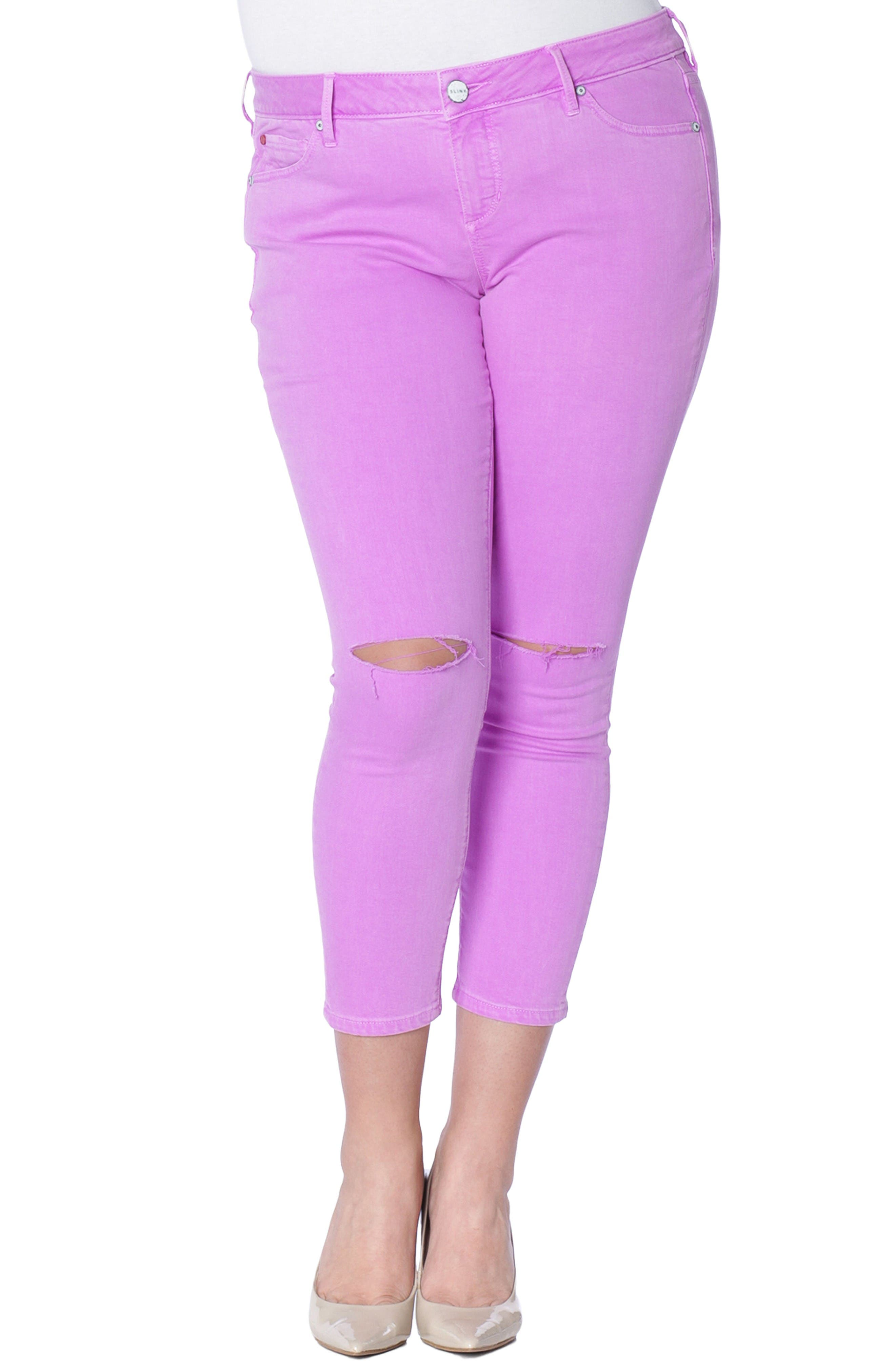 SLINK Jeans Slit Knee Ankle Skinny Jeans (Neon Purple) (Plus Size)