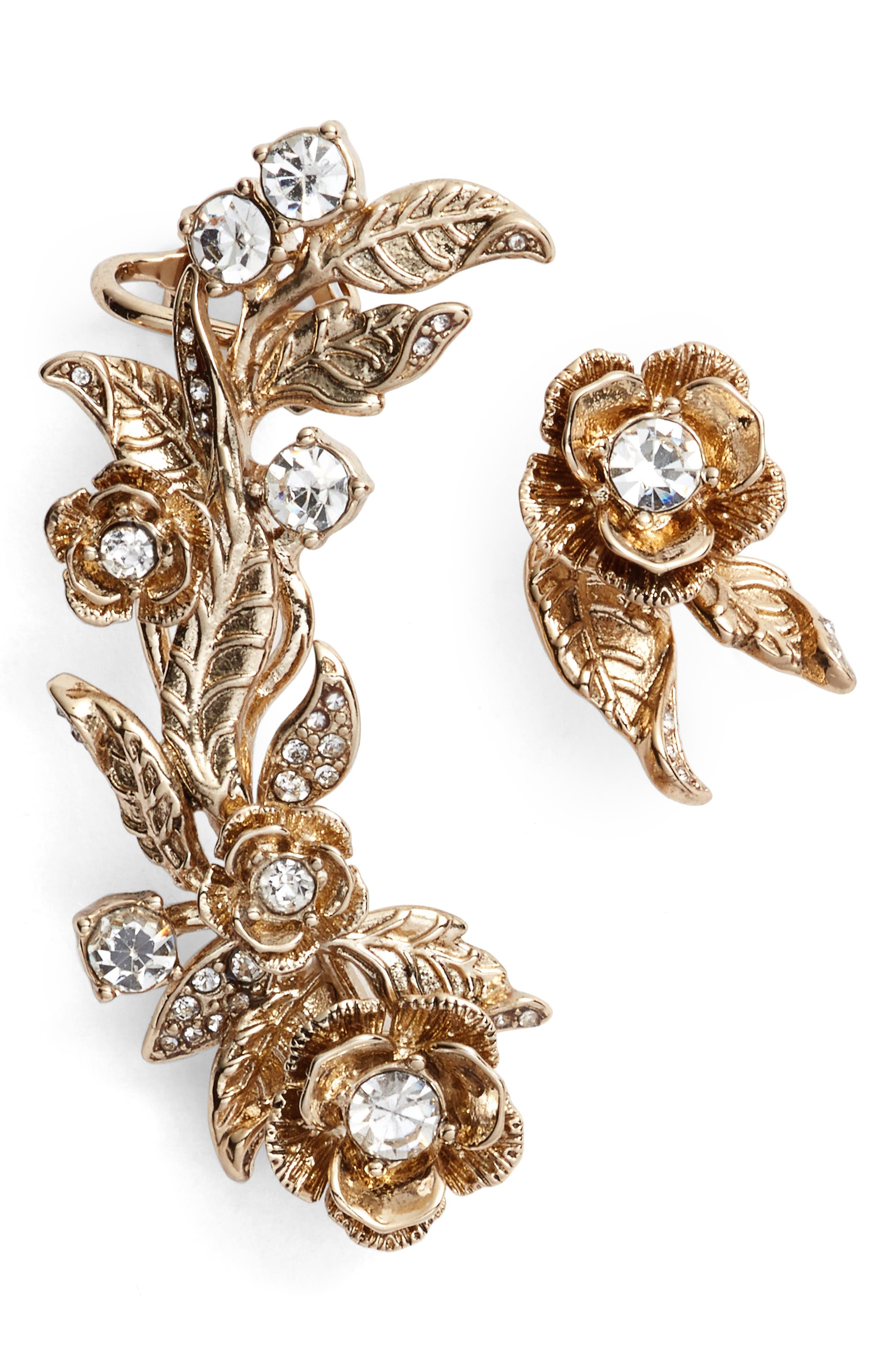 Alternate Image 1 Selected - Marchesa Mismatched Earrings Ear Crawler & Stud