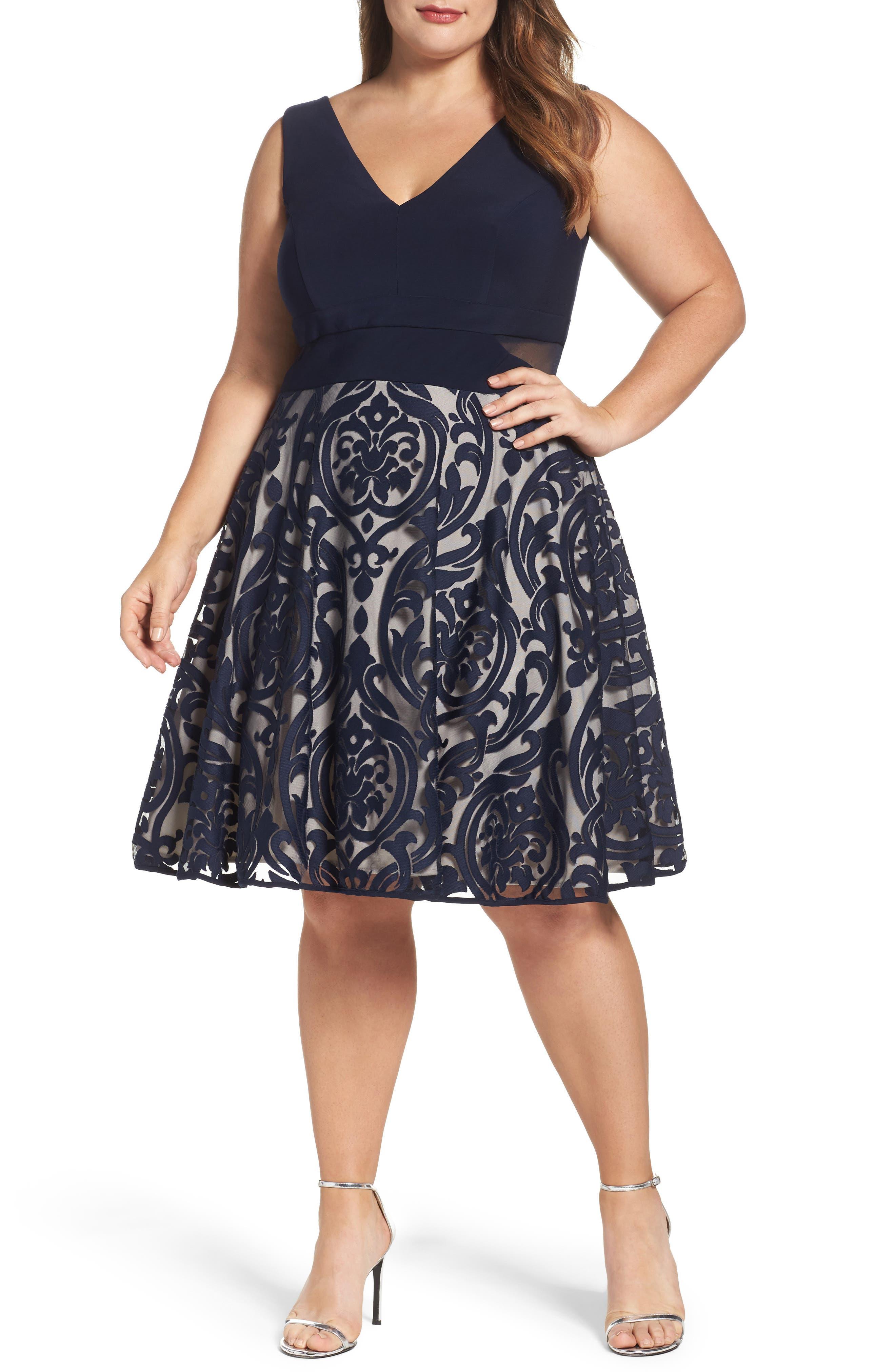 XSCAPE Flocked Skirt Party Dress