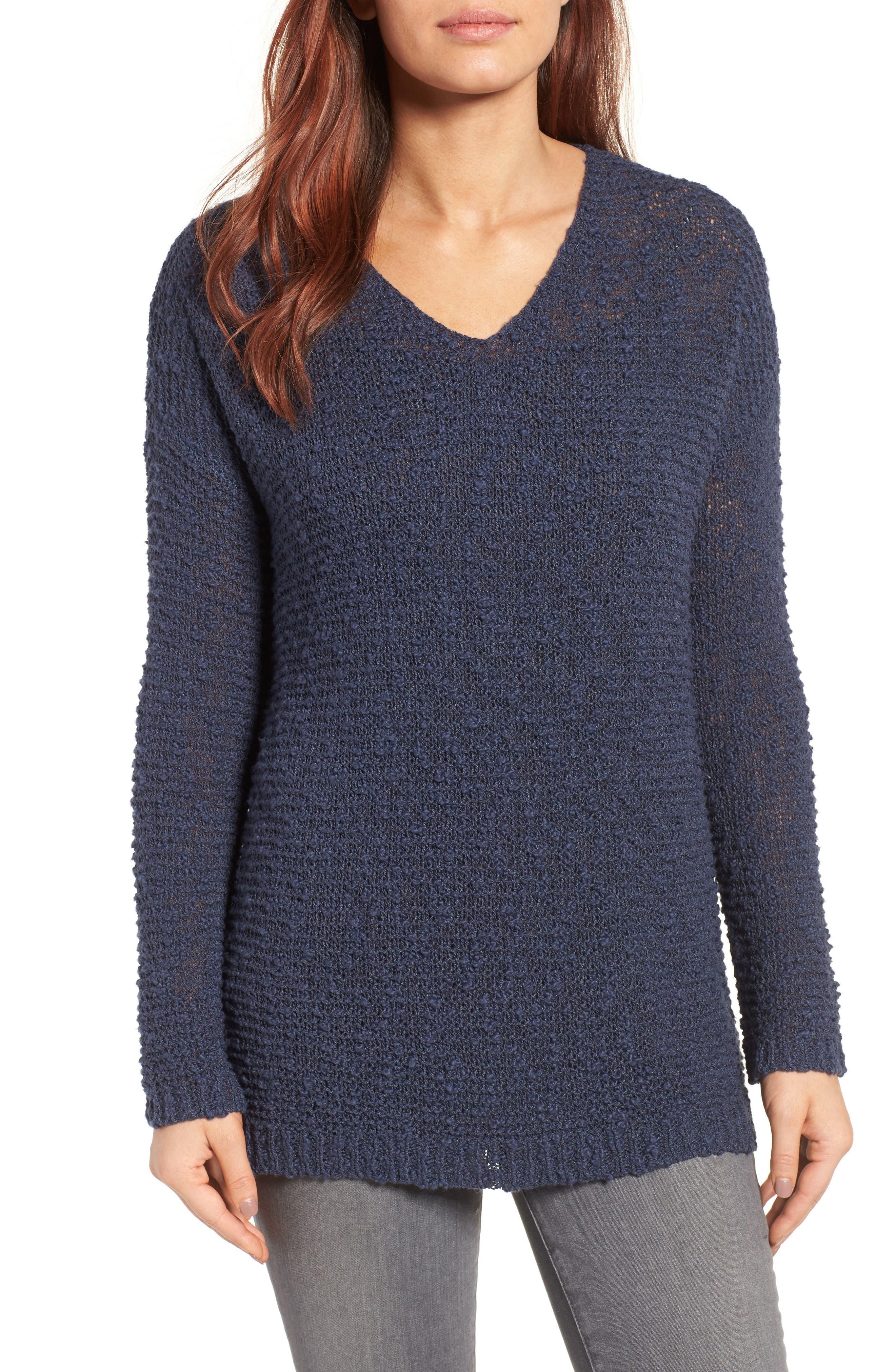 Caslon® Open Stitch V-Neck Sweater (Regular & Petite)