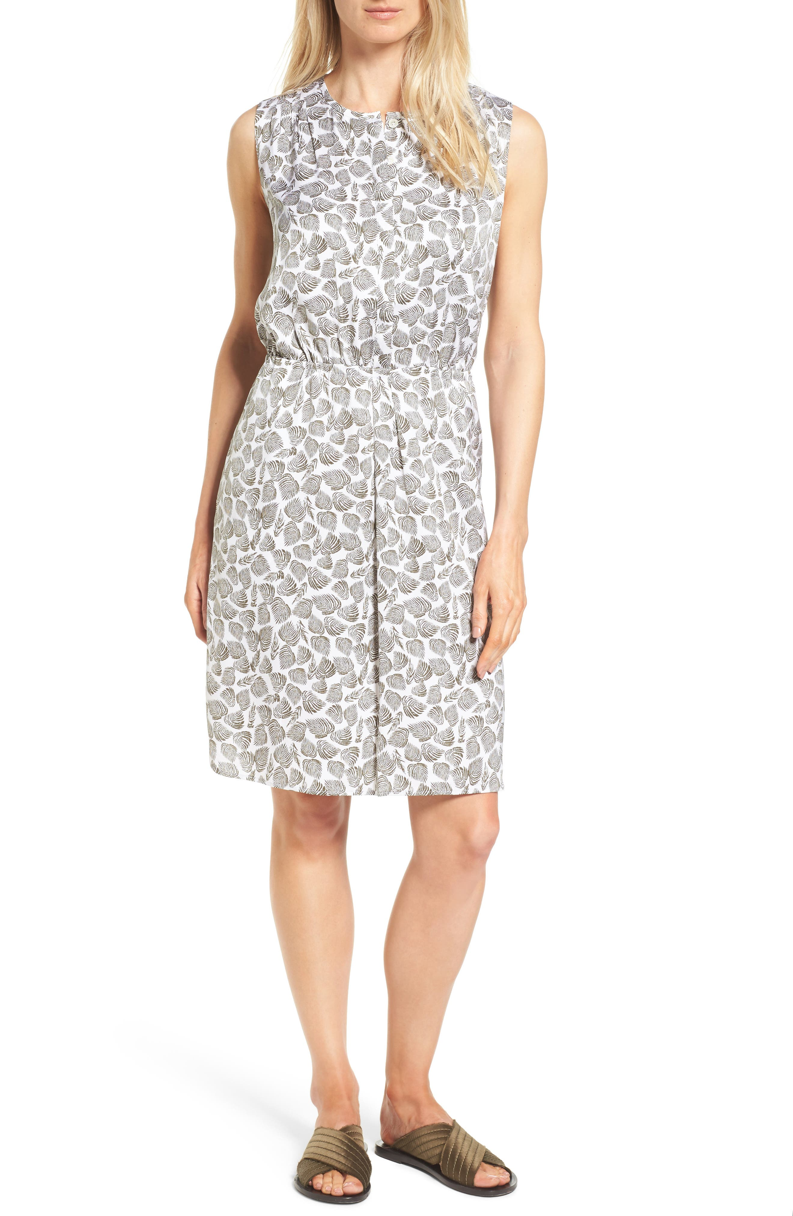 Nordstrom Collection A-Line Print Stretch Silk Dress