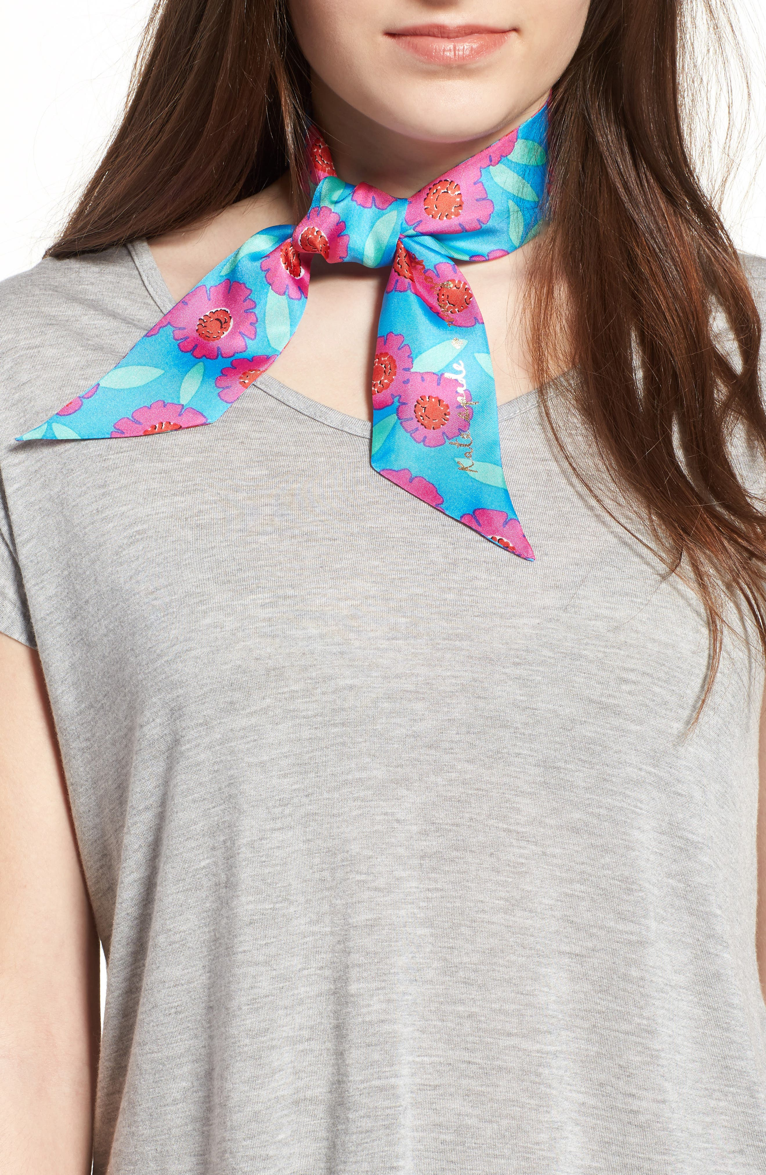Main Image - kate spade new york tangier floral silk skinny scarf